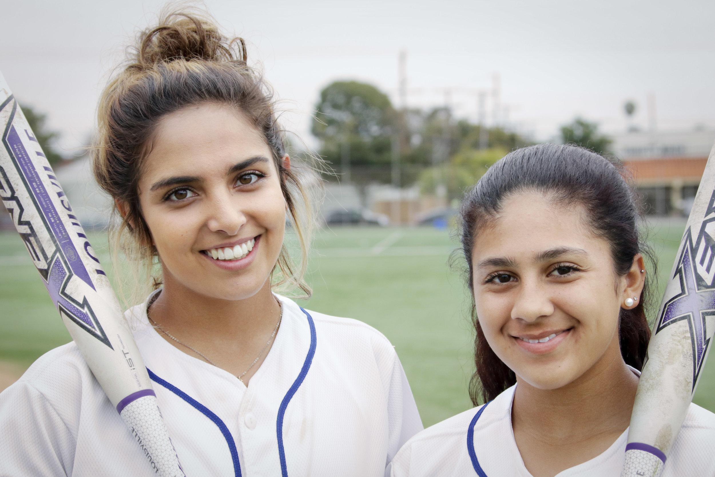 Santa Monica College Corsairs Softball players Taylor Liebesman (Left), and Nicole Valdez (Right). (Santa Monica, California. Tuesday, March 27, 2018.) Ashutosh Bikram Singh/Corsair Staff