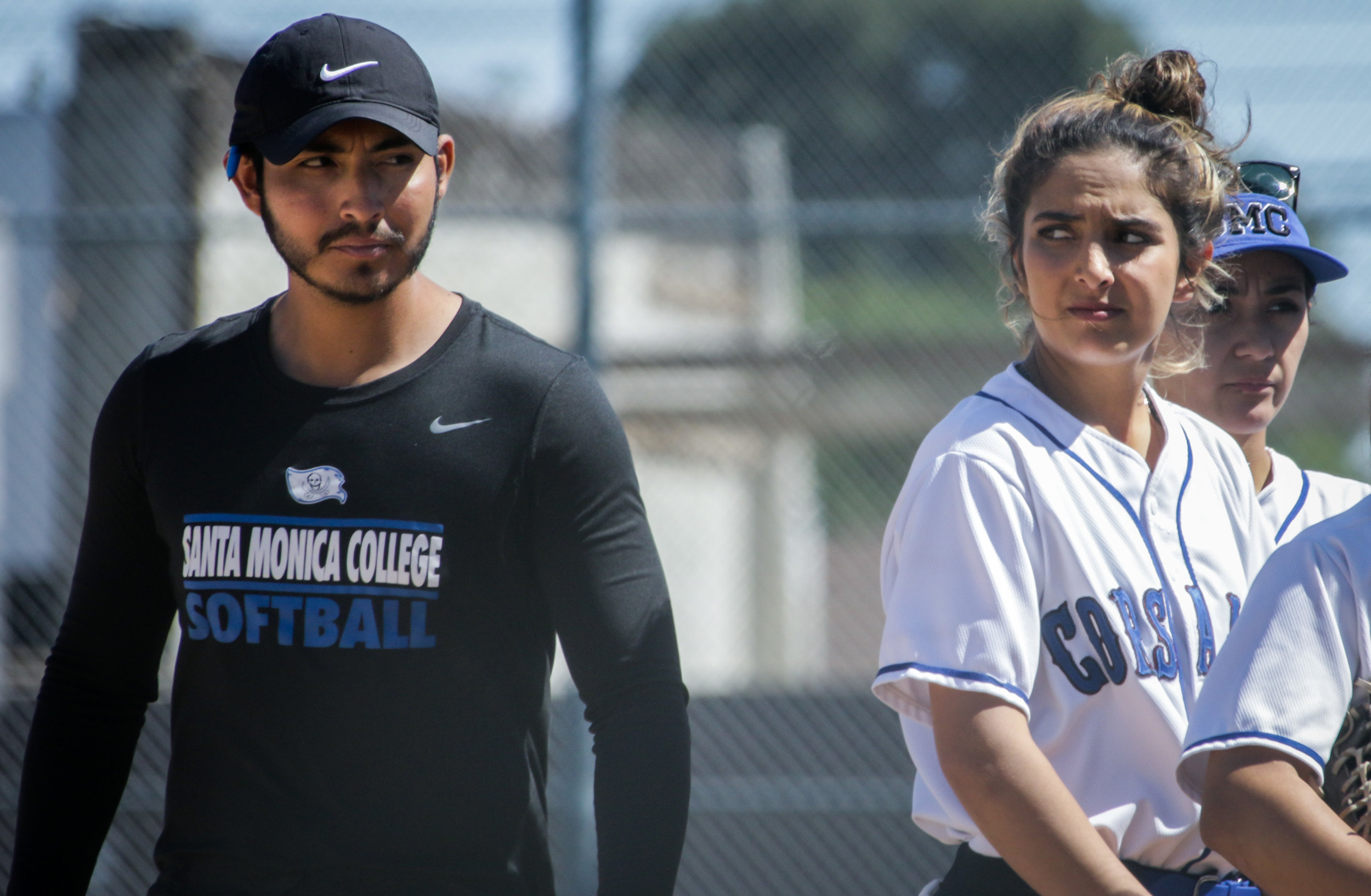 Santa Monica College Corsair softball head coach Phillip Gomez (Left), with Taylor Leibesman (Right) seen before their game against Allan Hancock College on Tuesday, March 27th, 2018. The game ended 8-1 in favor for Allan Hancock College. (Santa Monica, California, Tuesday March  27, 2018.) (Corsair/Ashutosh  Bikram Singh)