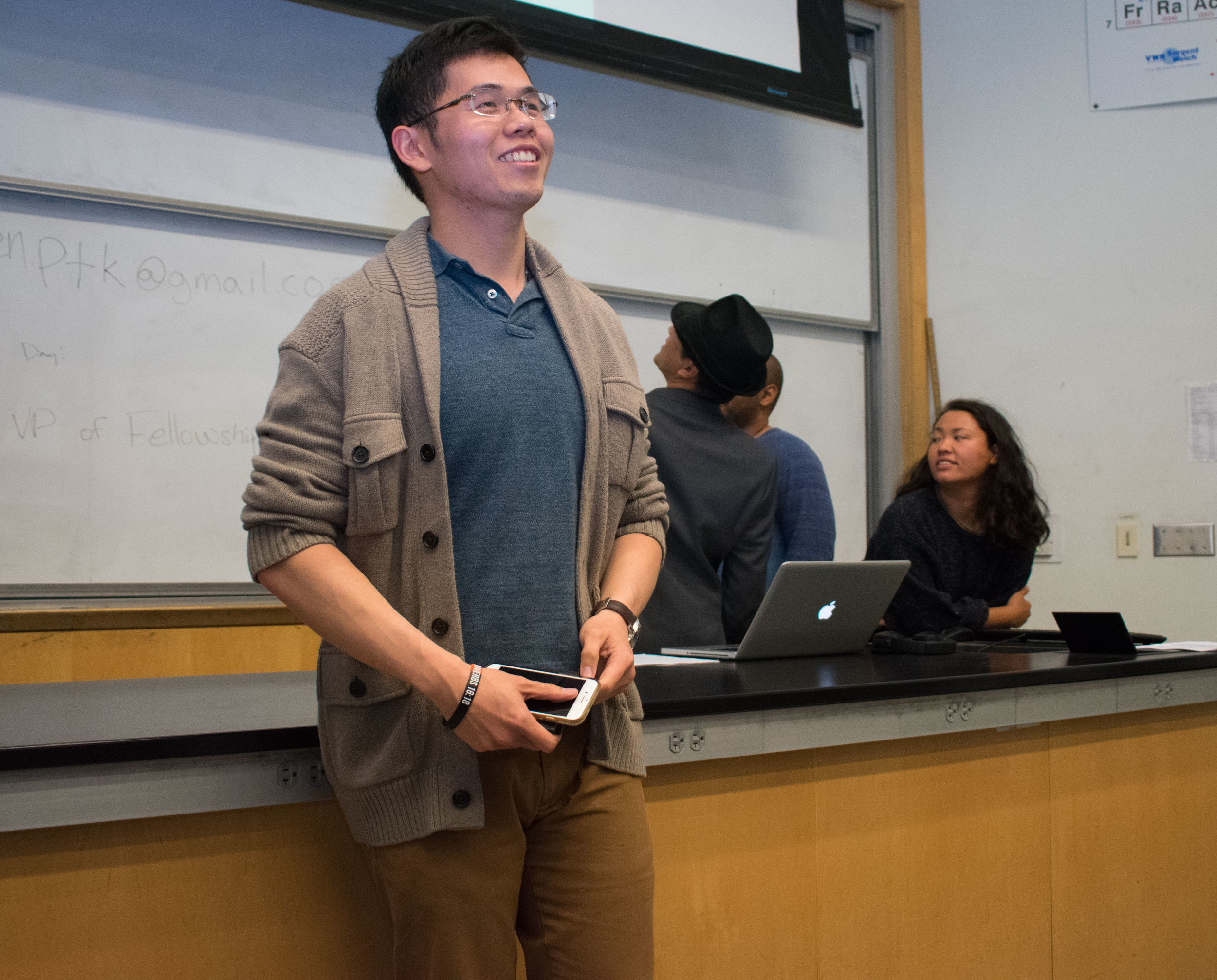 Ryan Ang, the Executive Vice President for Phi Theta Kappa, an honor society at Santa Monica College leads the weekly meeting in the Science building, room 140 at 11:15 a.m. on Tuesday, March 20 in Santa Monica, California. Students wishing to join must pay an $80 membership fee, which is a one-time fee during their time at the college, but students have to maintain a 3.0 GPA. Benefits that PTK advertise are scholarships, volunteer opportunities, and a transcript notation. (Ethan Lauren/Corsair Photo)
