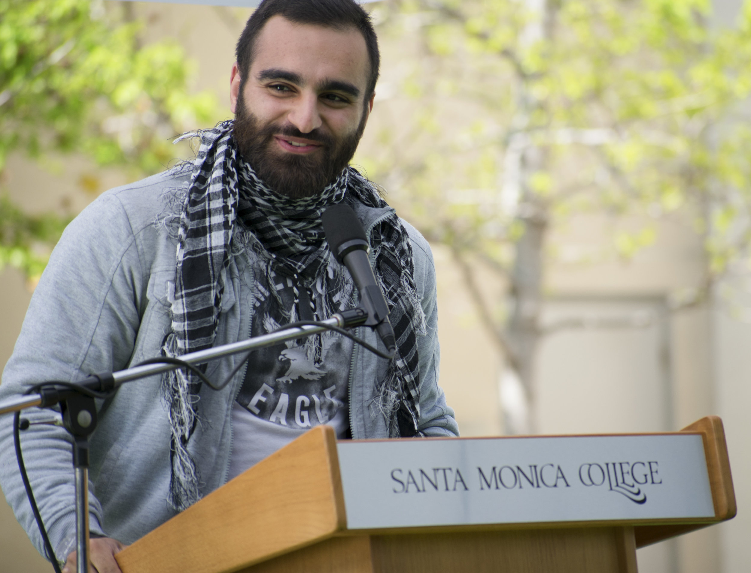 Hesham Jarmakani, a candidate for the position of vice president on the Associated Students of Santa Monica College board introduces himself during a forum to give candidates running for the election a platform on April 3 in Santa Monica, California. (Ethan Lauren/Corsair Photo)
