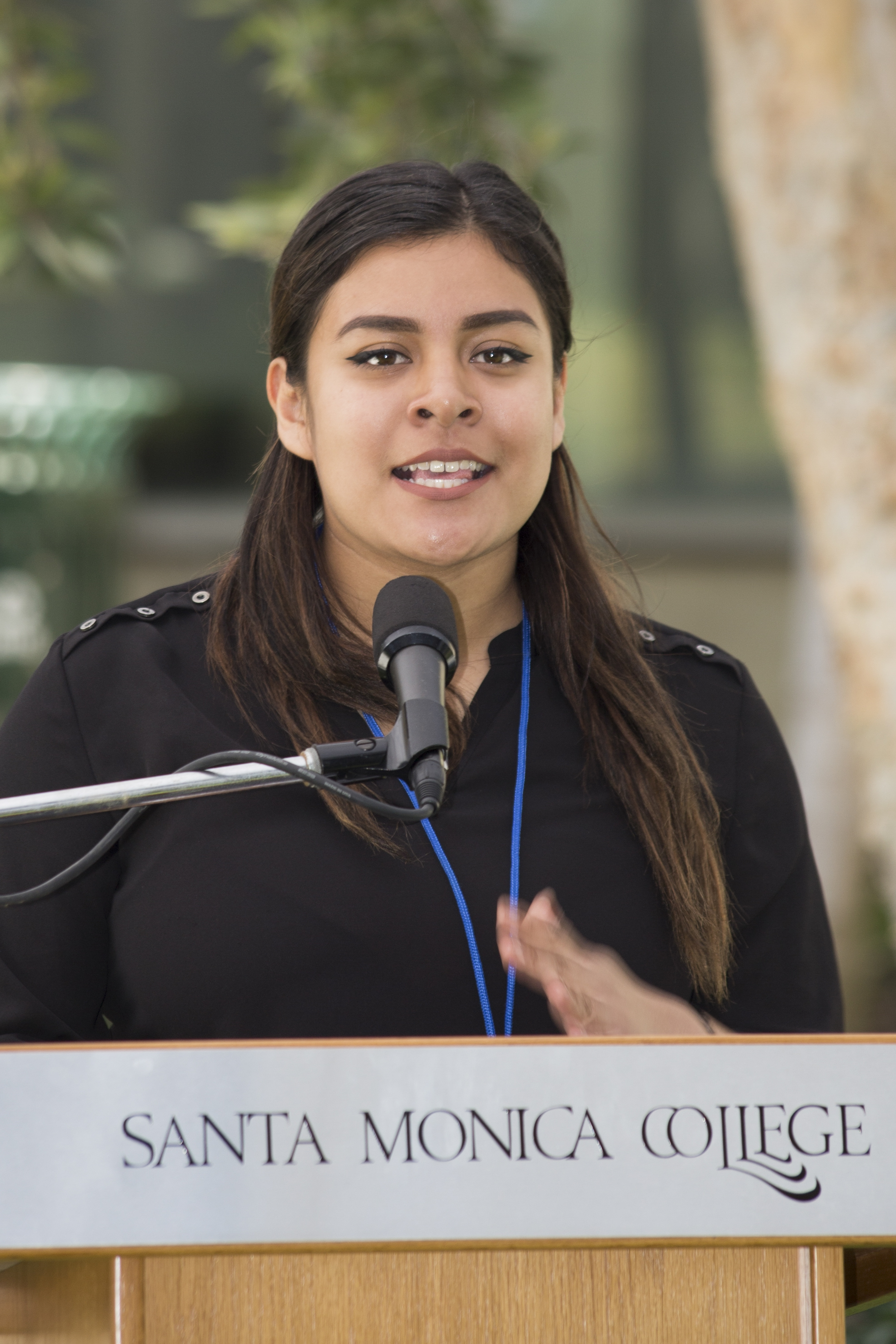 "Gema Ceron running for Secretary. Slate: Step Forward. Promise If Elected: ""Instead of making A.S. food vouchers $15, we want to make it $20 per semester so students can have two meals a week.""SMC main campus in Santa Monica California, on Tuesday, April 3 2018. (Fernanda Rivera/Corsair Photo)"