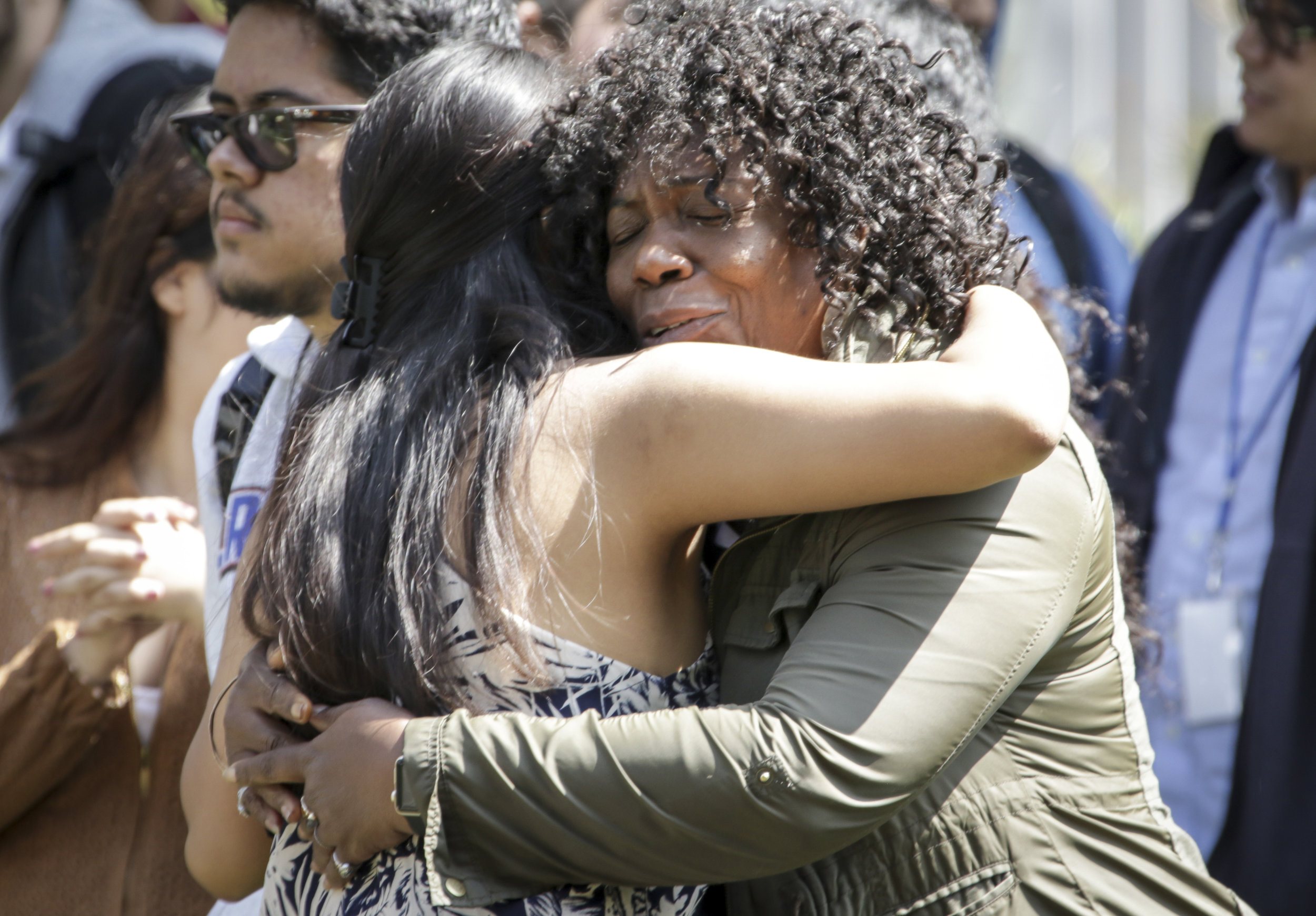 Santa Monica College student Hyacinth Mcleod (Right) hugs A.S. candidate Kimberly Hernandez (Left) while she attends the Associated Students elections debate held at the quad of the main campus on Tuesday, April 3, 2018. Kimberly is running for Director of Student Assistance (Ashutosh Bikram Singh/Corsair Photo)