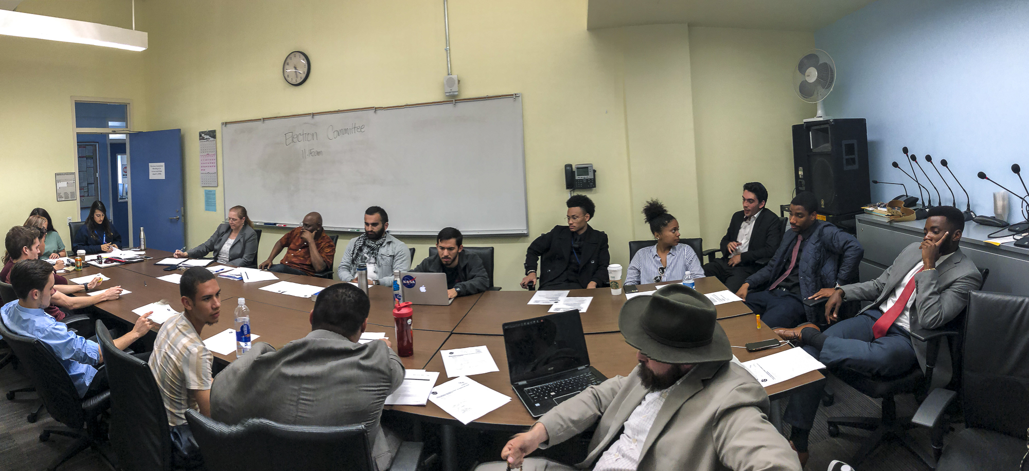 The Election Committee Members discuss a variety of filed violations amongst committee members and Associated Student candidates at the election committee meeting held in the conference room in the Cayton Center on Santa Monica College's main campus in Santa Monica, California on Tuesday, April 3, 2018. (Ryanne Mena/Corsair Photo)