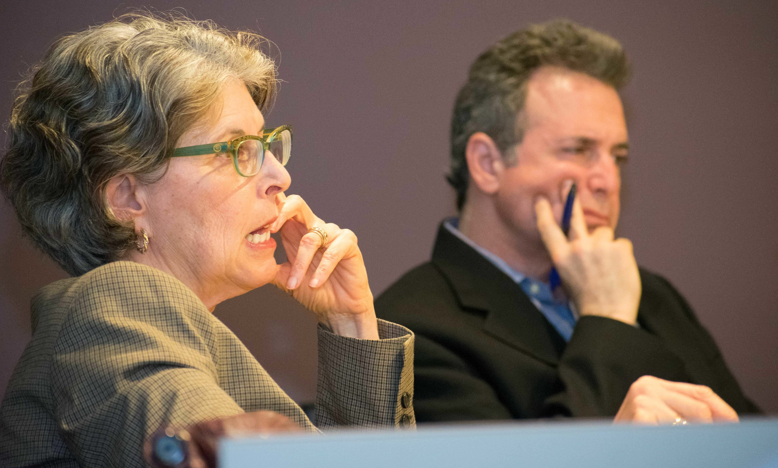 The Board of Trustees at Santa Monica College, partially pictured from left to right are trustee Dr. Louise Jaffe and trustee Rob Rader meet monthly to discuss items and other topics pertaining to the school in Santa Monica, California on Tuesday, April 3, 2018. (Ethan Lauren/Corsair Photo)