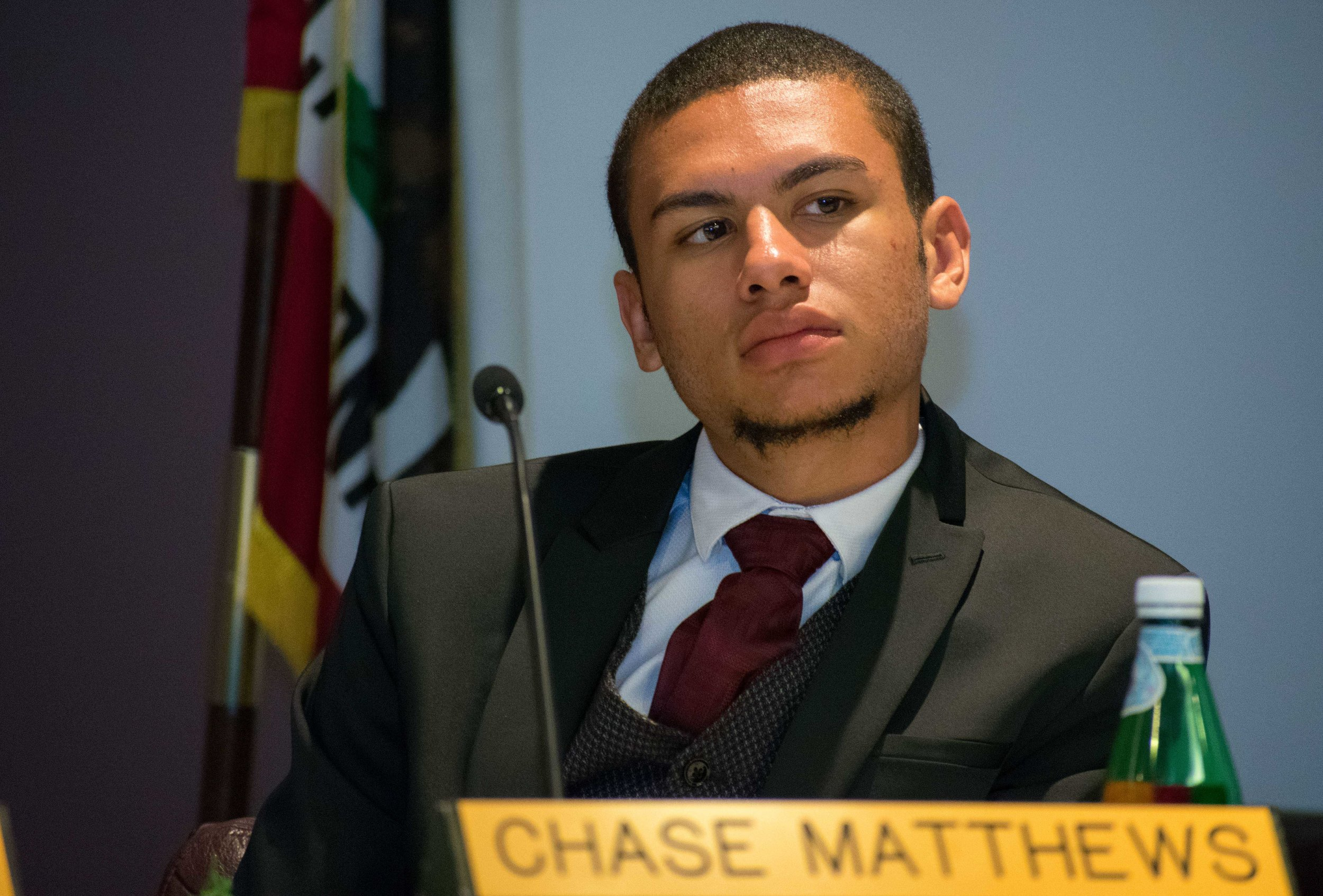 Student trustee Chase Matthews sits alongside the Santa Monica College board of trustees (not pictured) on Tuesday, April 3 during the monthly meetings at Santa Monica, California. Matthews was voted into the position by students at the college during the spring of 2017. (Ethan Lauren/Corsair Photo)