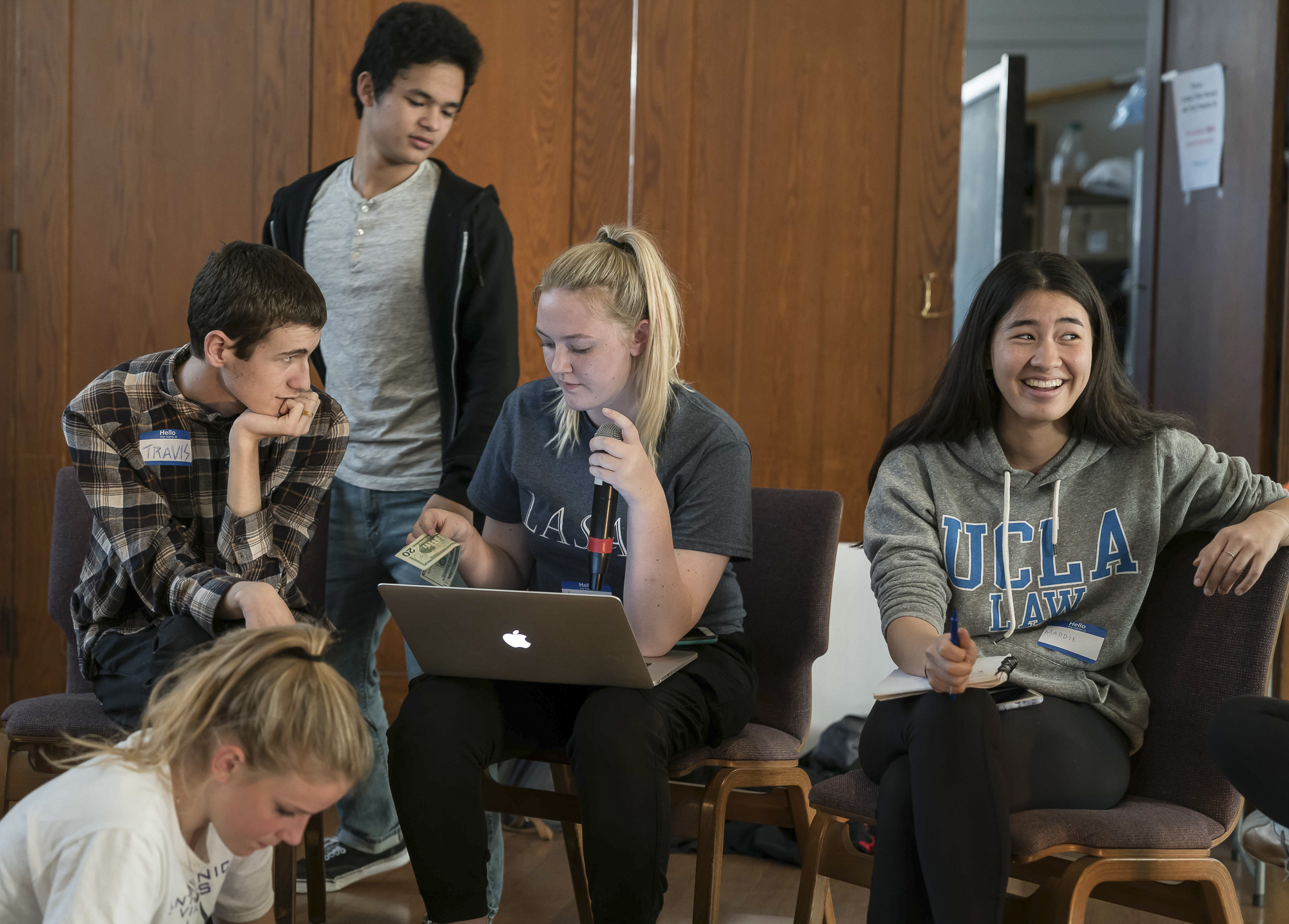 Students from several Los Angeles area high schools met in Santa Monica, California on Tuesday, April 17, 2018 to discuss a planned walkout and protest rally at Santa Monica City Hall on Friday, April 20. Clockwise from lower left: Siri Storstein, Travis Ackermann, Lorenzo De Los Reyes, Camille Hannant, and Maddie Fenster. (Helena Sung/Corsair Staff)