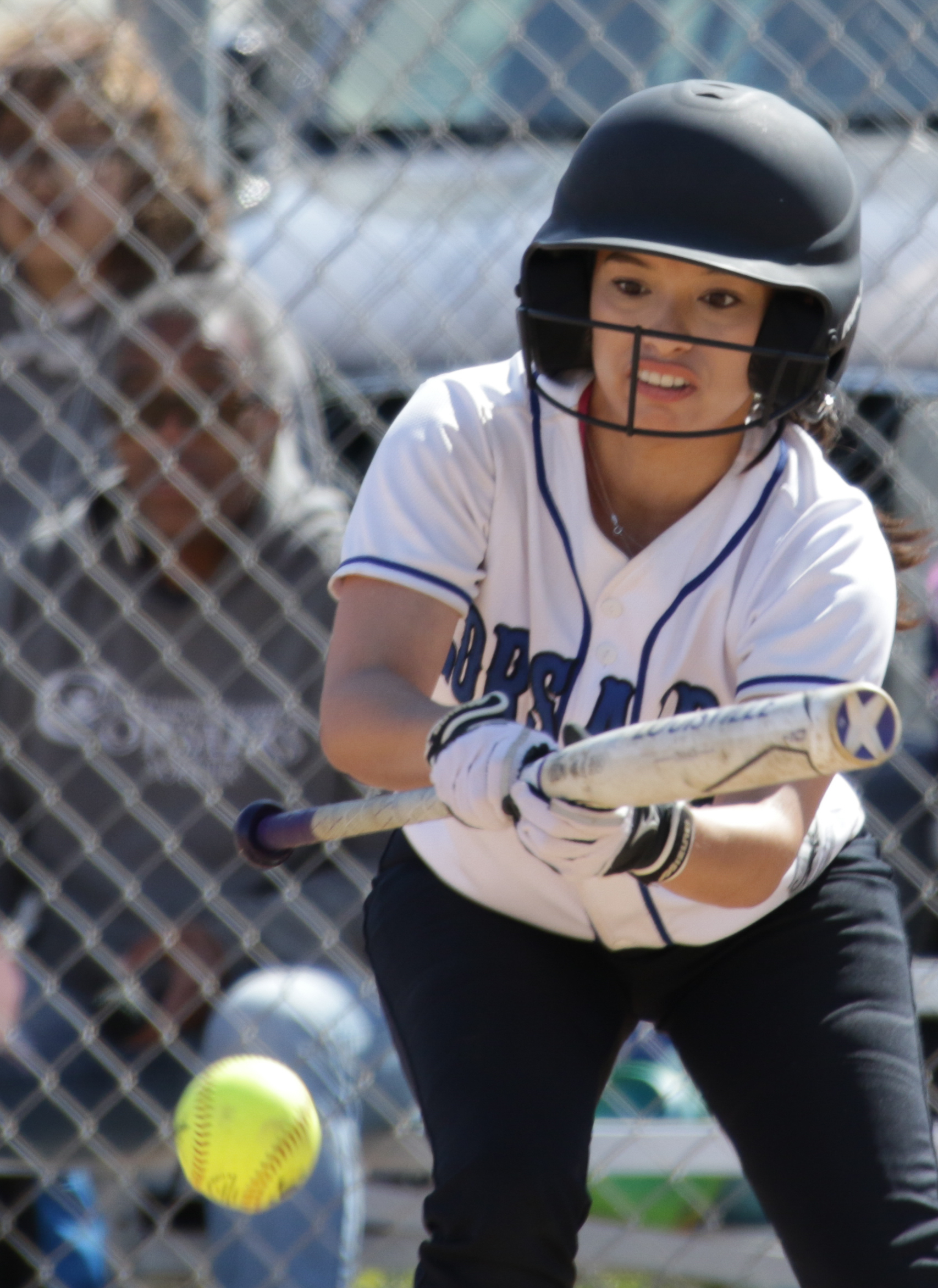 Santa Monica College Corsair softball team batter Aliza Chacon (#3) attempts to bunt the ball during their game against Oxnard College on thursday, April 19th, 2018. The game ended 3-2 in favor for Santa Monica College. (Santa Monica, California, Thursday April 19th, 2018) (Ashutosh  Bikram Singh/Corsair Photo)