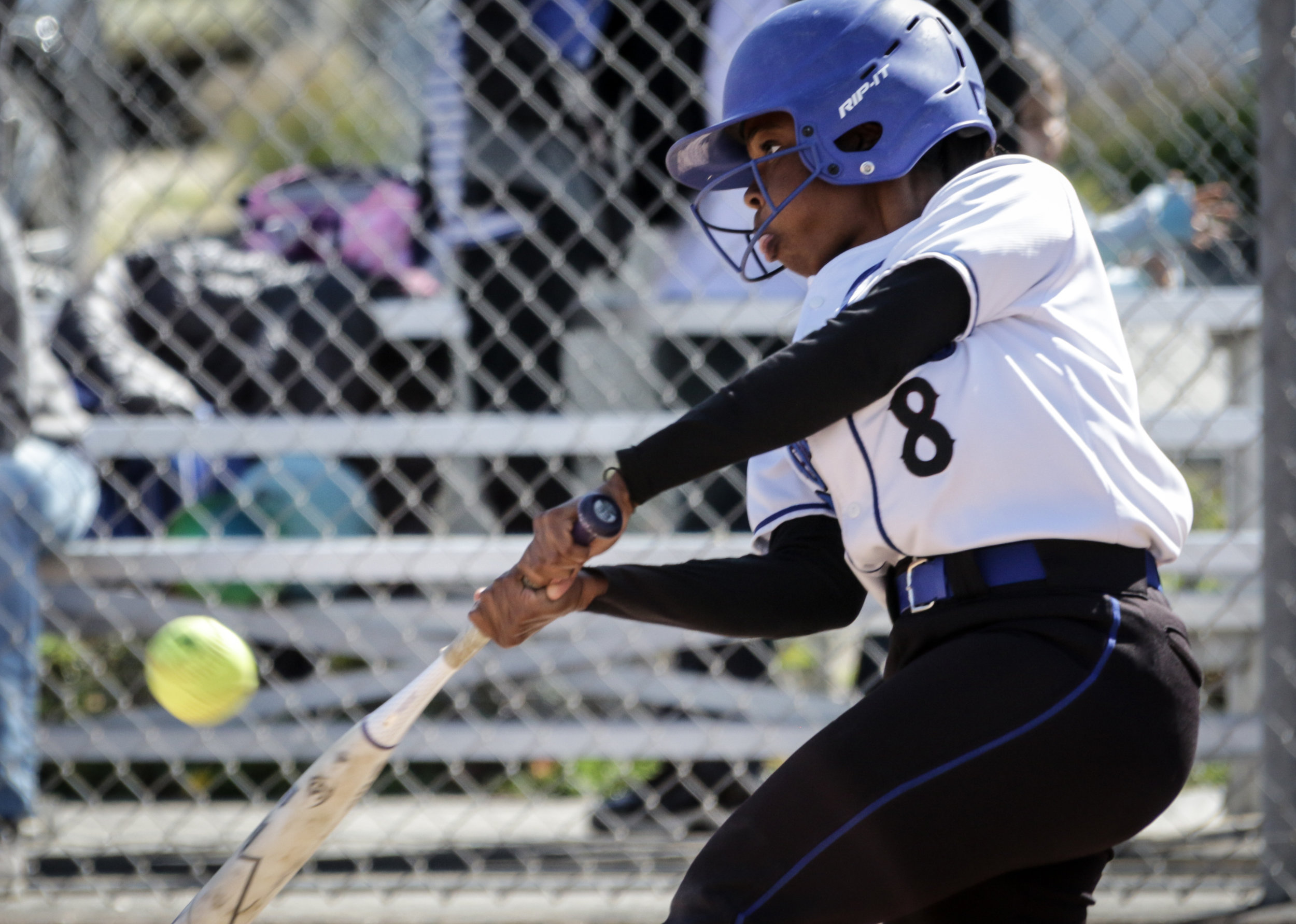 Santa Monica College Corsair softball team batter Kahlaysia Miller (#8) attempts to get a hit during their game against Oxnard College on thursday, April 19th, 2018. The game ended 3-2 in favor for Santa Monica College. (Santa Monica, California, Thursday April 19th, 2018) (Ashutosh  Bikram Singh/Corsair Photo)