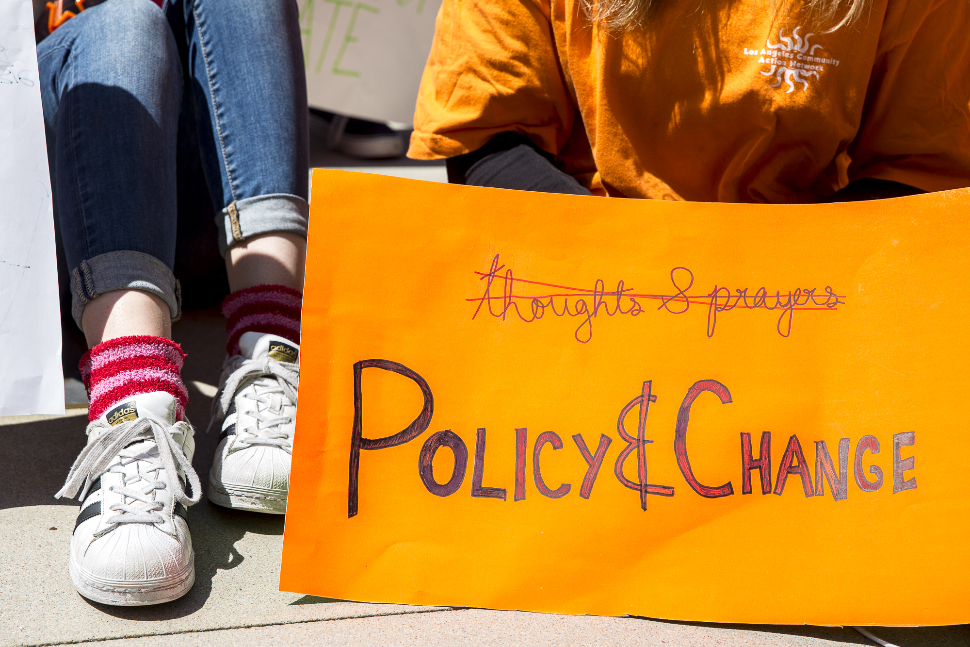 Several hundred students from area high schools and middle schools converged on Santa Monica City Hall in protest against all forms of gun violence, also marking the 19th anniversary of the Columbine High School massacre in Santa Monica, California on Friday, April 20 2018. (Matthew Martin/Corsair Photo)