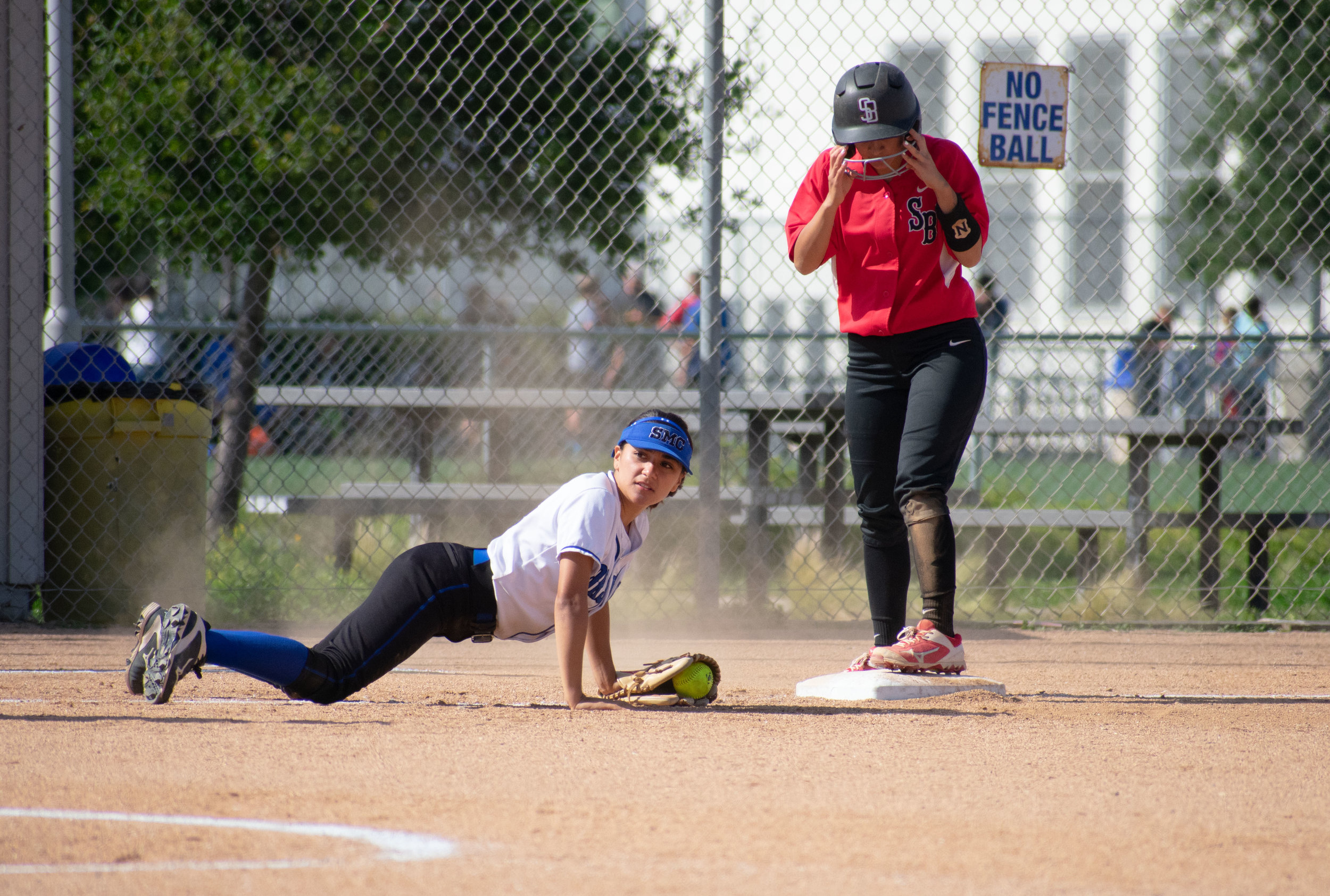 Santa Monica College Corsair Briana Osuna (#10) fails to defend third base during the final game of the season against the Santa Barbara Vaqueros on Friday, April 20, 2018 at the John Adams Middle School Field in Santa Monica, California. The game was a 7-1 loss for the Corsairs, ending the season with an 8-21 record. (Ethan Lauren/Corsair Photo)