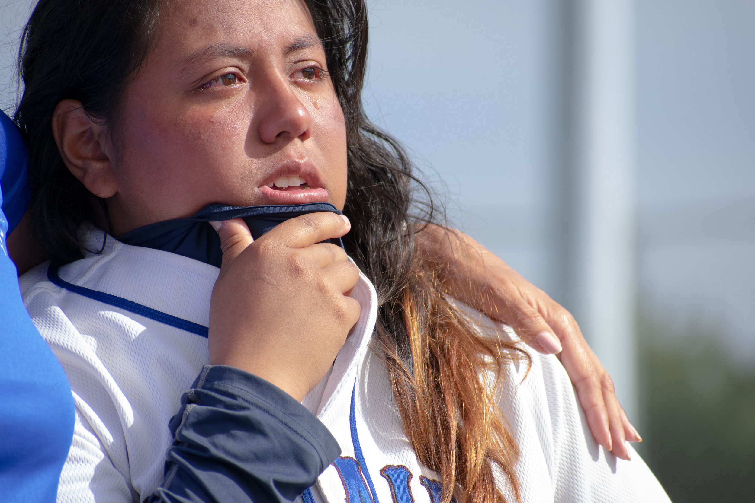 Santa Monica College Corsair Ashley Sasso (#12), a sophomore who played her last game gets emotional as the team discusses the season after the final game of the season against the Santa Barbara Vaqueros on Friday, April 20, 2018 at the John Adams Middle School Field in Santa Monica, California. The game was a 7-1 loss for the Corsairs, ending the season with an 8-21 record. (Ethan Lauren/Corsair Photo)