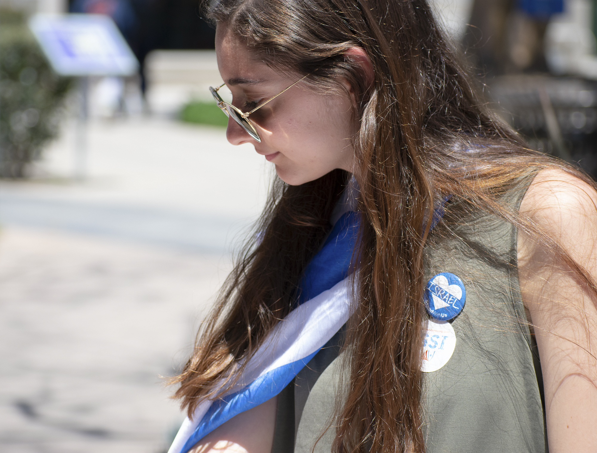 Shir Atias represents Students Supporting Israel on the quad at Santa Monica College during Club Row on Thursday, April 26, 2018 in Santa Monica, California. With over 60 clubs in attendance, the day is meant to encourage clubs to showcase what they've been doing over the semester for students. (Ethan Lauren/Corsair Photo)