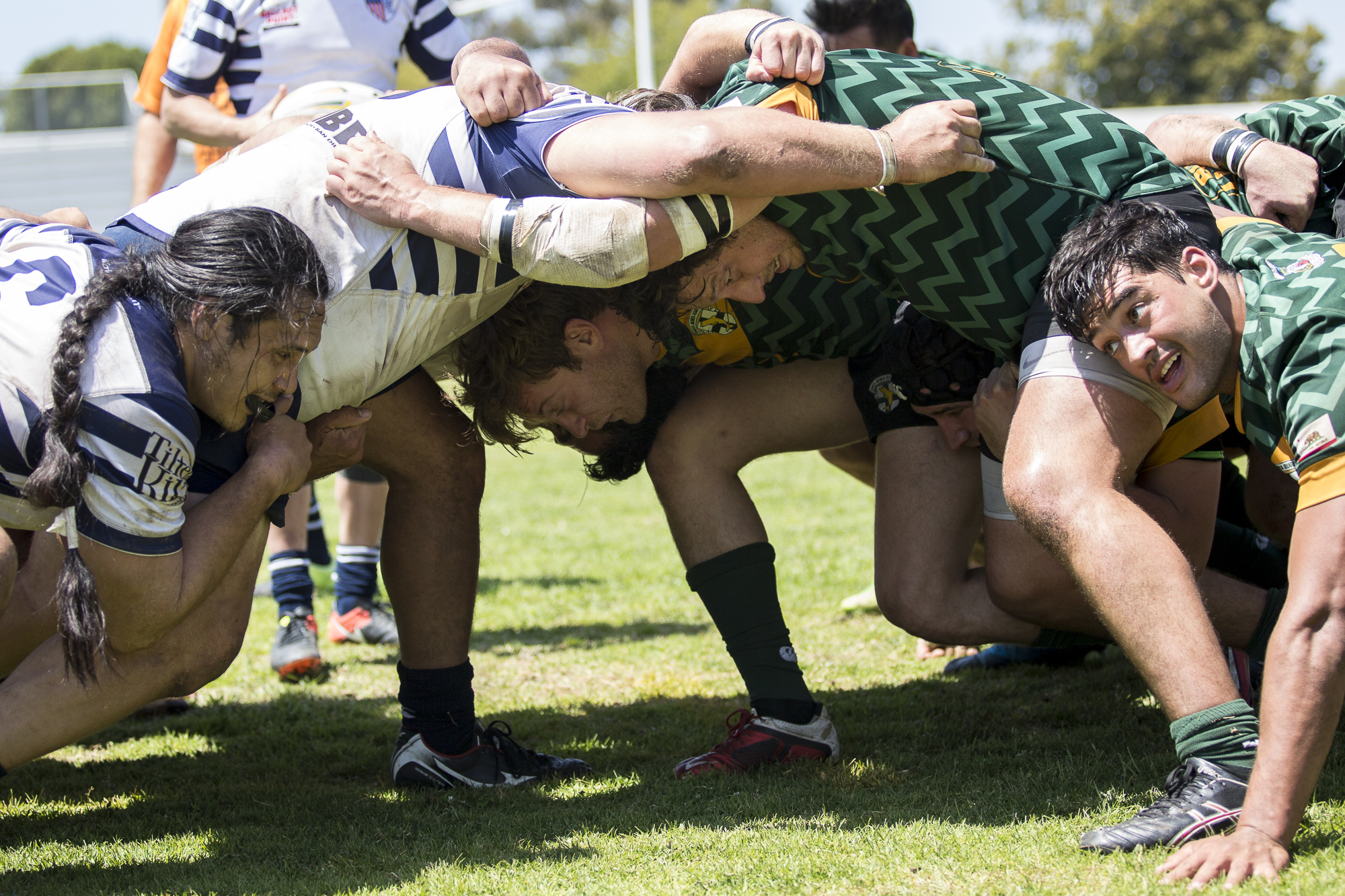 The Santa Monica Dolphins and Old Mission Beach Athletic Club come together for a scrum (in favor of Santa Monica) after Mission Beach were deemed off side during the 2nd half of the game, which was held at Westchester High School in Westchester California on Saturday April 28 2018. The Santa Monica Dolphins would go on to lose the game 7-26 during Saturday's game. (Matthew Martin/Corsair Photo)
