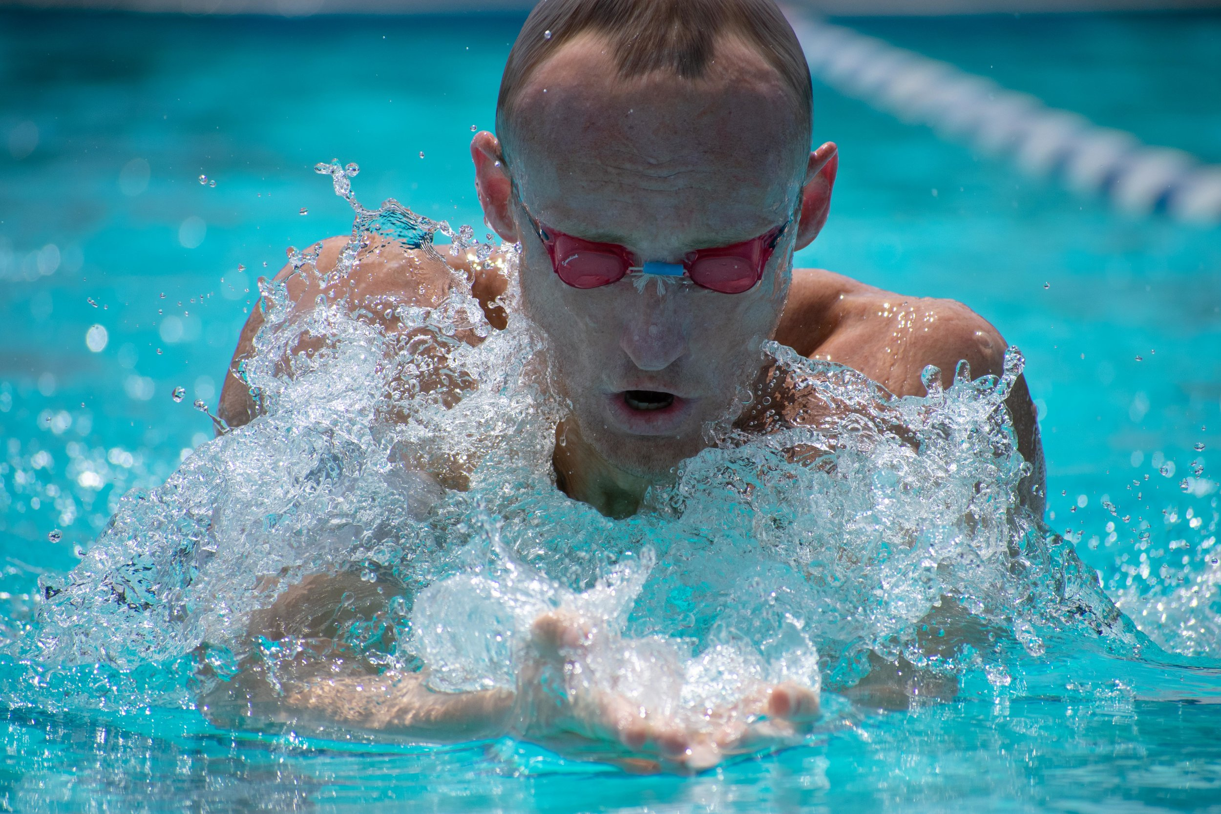 Brian Mcateer practices his breaststroke during practice on Tuesday, April 24, 2018 at the Santa Monica Swim Center in Santa Monica, California. Mcateer will be headed to the CCCAA Swim and Dive State Championships, which will be held from Monday, May 3 to Saturday, May 6 to swim the 100 and 200-yard breaststroke and the 200-yard individual medley. (Ethan Lauren/Corsair Photo)