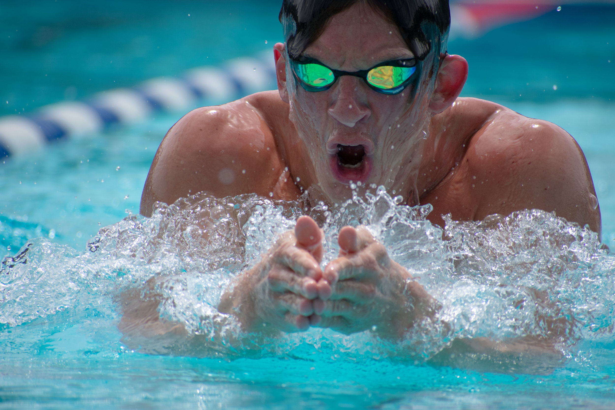 Martin Berggren practices his breaststroke during practice on Tuesday, April 24, 2018 at the Santa Monica Swim Center in Santa Monica, California. Berggren will be headed to the CCCAA Swim and Dive State Championships, which will be held from Monday, May 3 to Saturday, May 6 to swim the 100 and 200-yard breaststroke. (Ethan Lauren/Corsair Photo)