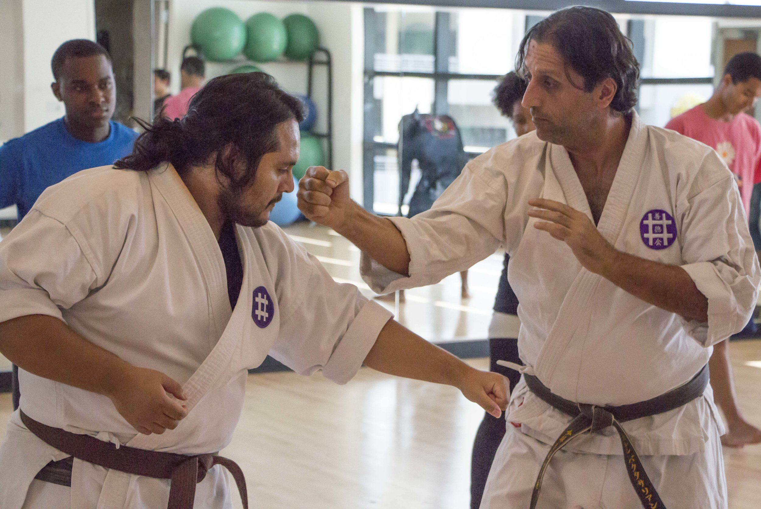 Santa Monica CollegeProfessor Baghdasarian and student Henry de Leon show the class proper technique as other students look on, on Thursday, April 18, 2018 in Santa Monica, California. From 3:45 to 5:05, the second floor room of the Core Performance Center on the main campus of Santa Monica College becomes a dojo where students learn the Shorinji-Ryu style of Okinawa Karate. (Wilson Gomez/Corsair Photo)