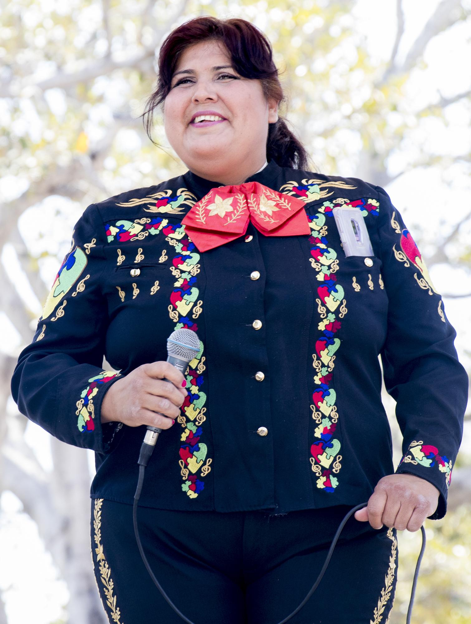 Maricela Ibarra performs traditional hispanic music at Olvera Streets Cinco De Mayo festival on May 5, 2018 in downtown Los Angeles, California (Zane Meyer-Thornton/Corsair Photo)