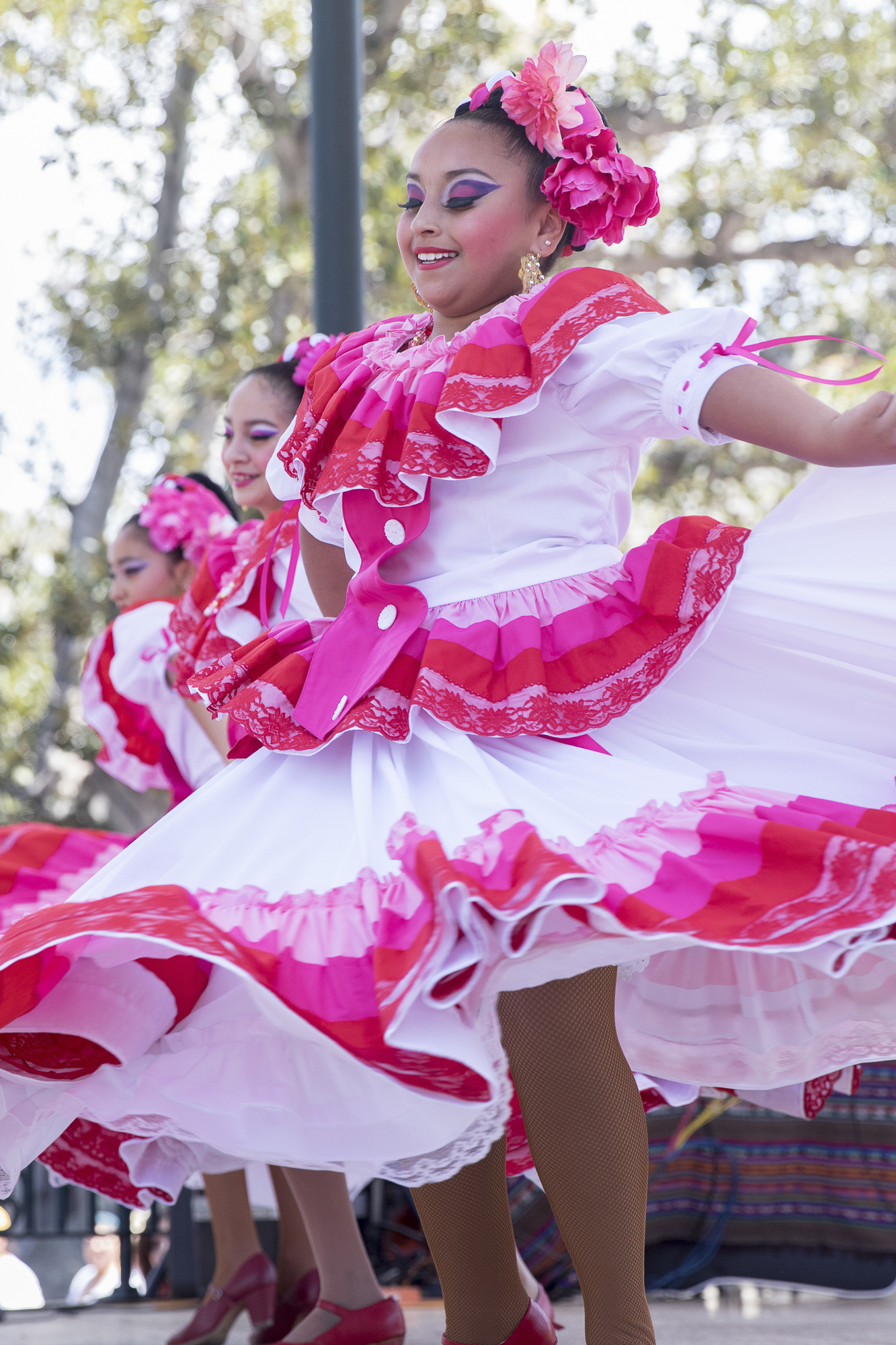 Children perform a traditional Folklora dance at Olvera Streets Cinco De Mayo celebration on May 5, 2018 in Downtown Los Angeles, California. (Zane Meyer-Thornton/Corsair Photo)
