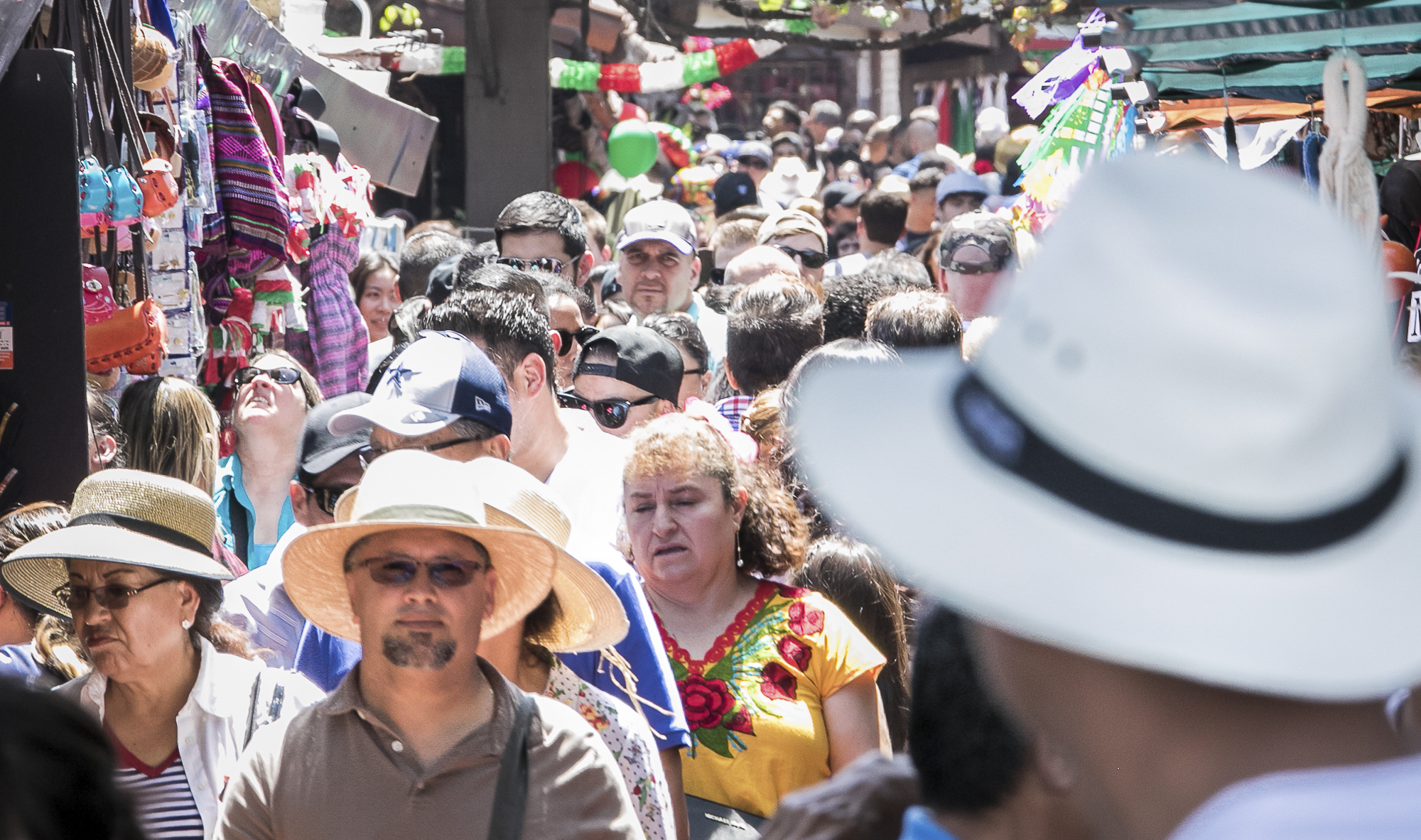 There were multiple shops set up filled with tradiotional mexican prodcuts on sale for the people celebrating  Cinco De Mayo which was held at El Pueblo de Los Angeles Historic Monument on  Olvera Street on May 5th, 2018.(Downtown, Los Angeles, California, Saturday, May 5th, 2018.) (Ashutosh Bikram Singh/Corsair Photo)