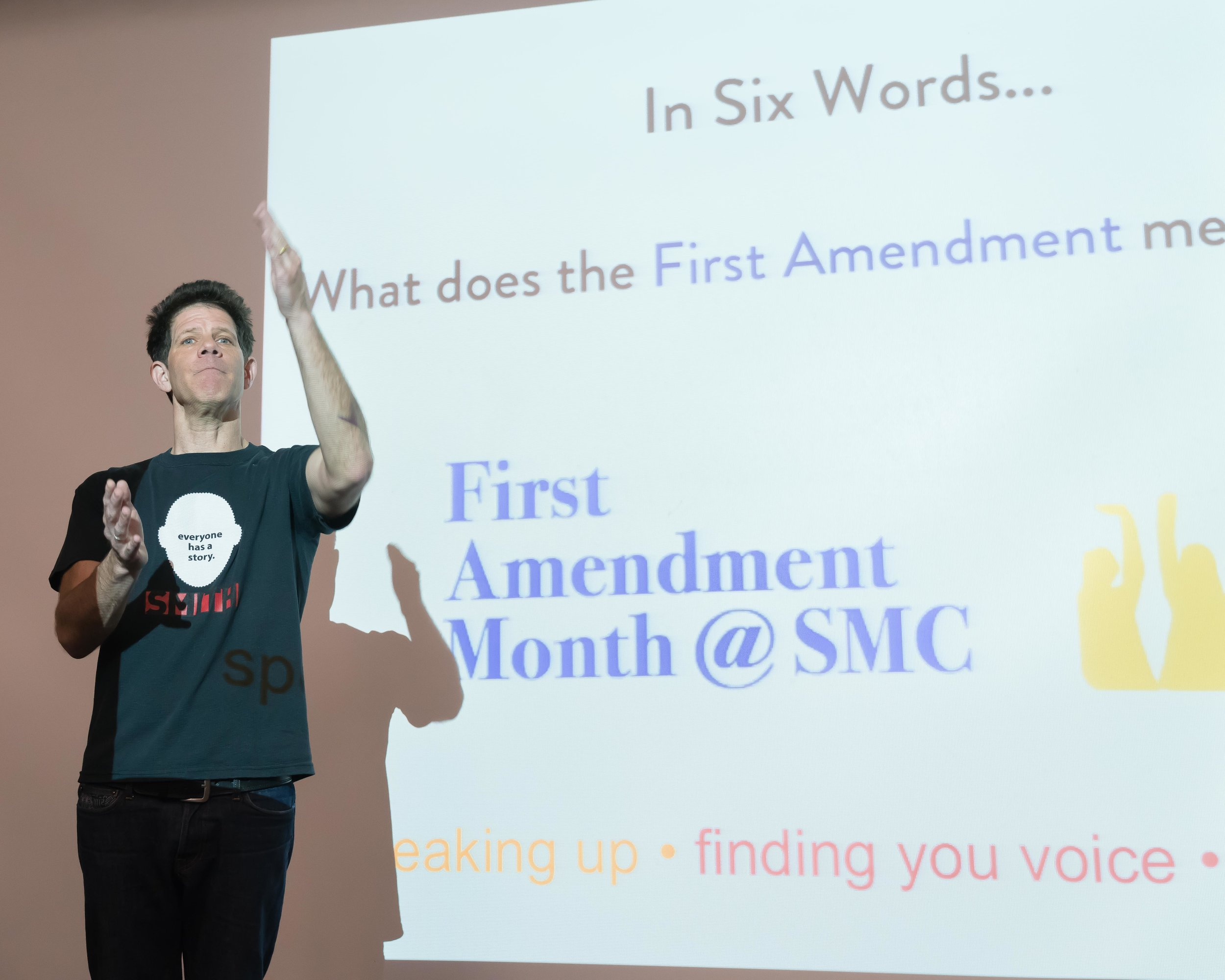 Larry Smith, founder of Six-Word Memoirs, speaks at Santa Monica College on May 3, 2018. May is SMC's inaugural First Amendment Month, started by Professor Ashanti Blaize-Hopkins. (Helena Sung/Corsair Photo).