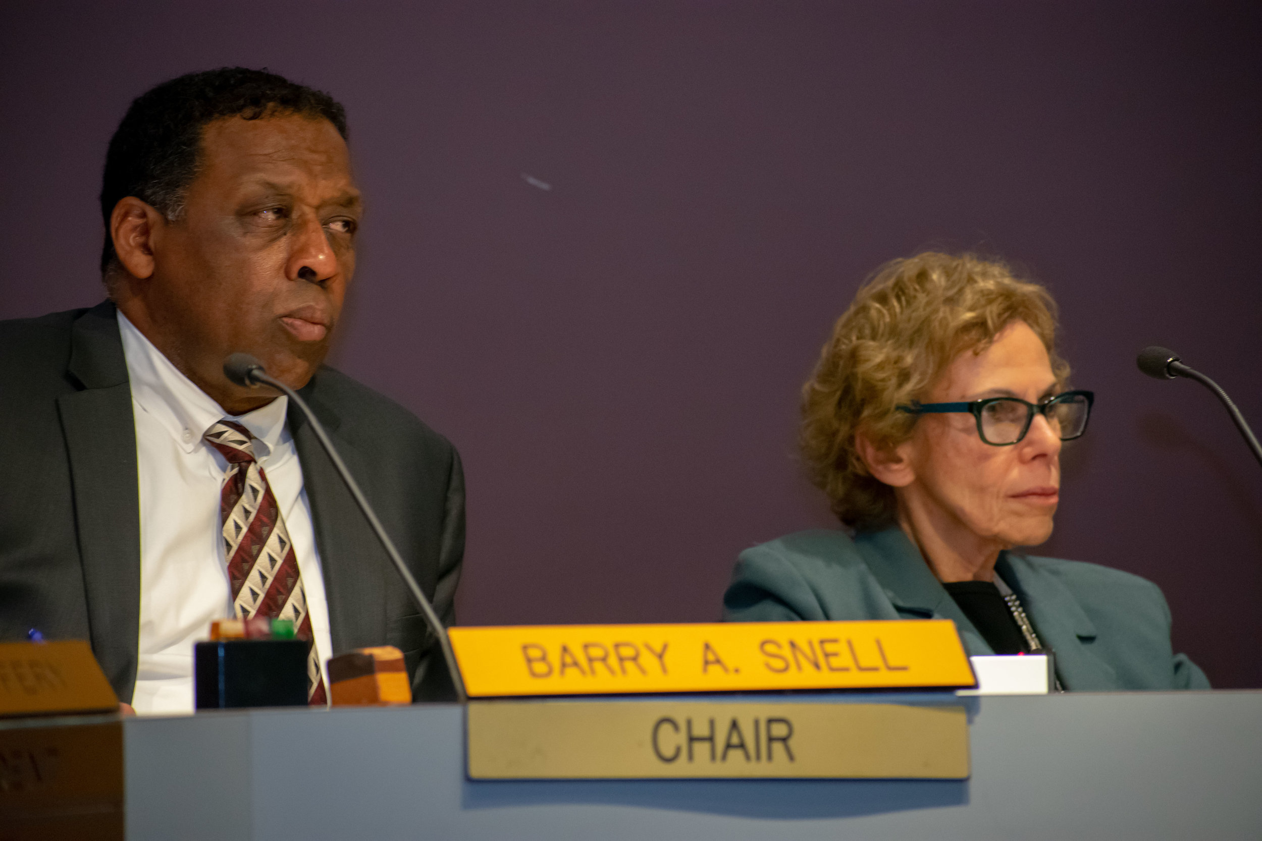 Chair Barry Snell sits on the Santa Monica College board of trustees during their meeting on Tuesday, April 3 alongside trustee Dr. Nancy Greenstein in Santa Monica, California. Both will be running again in the 2018 November elections, Snell has been on the board since 2014 and Greenstein since 2002. (Ethan Lauren/Corsair Photo)