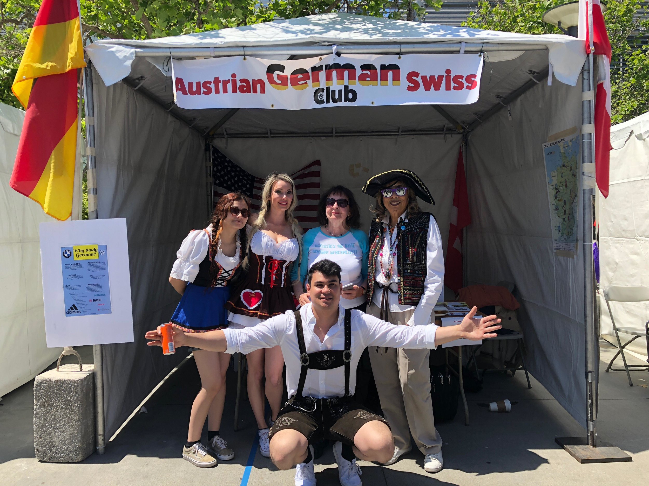 Representing the German, Austrian and Swiss club at Club Row on Thursday, April 26 were club members, (left) Ariana Castillo, Elizabeth Pertschi, Dr. Annelise Gerl, Samuel Lukey (front), and Administrative Assistant, Michelle Harrison (right). (Photo Courtesy of the German, Austrian and Swiss club.)