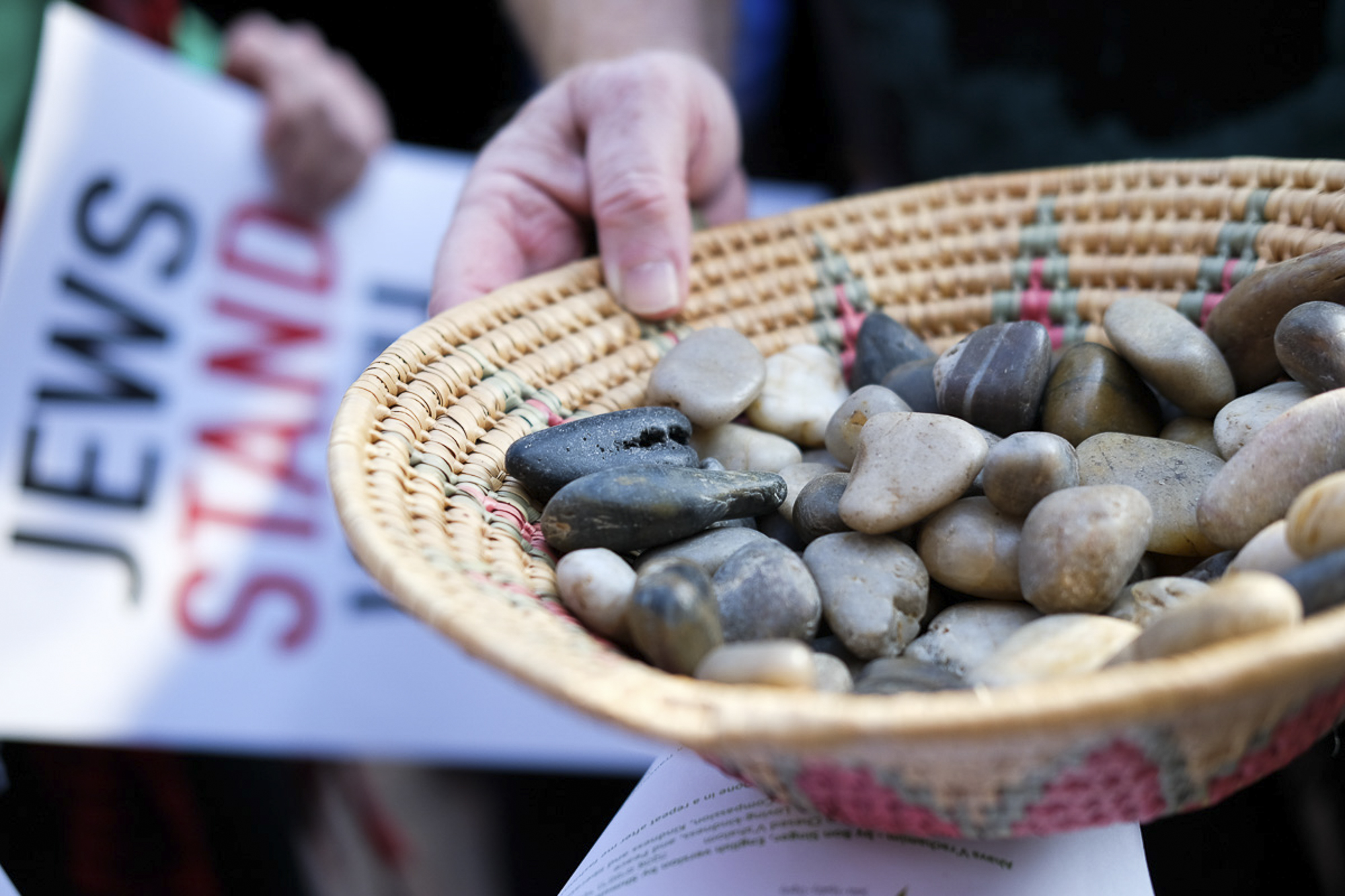 Stones were passed out during the vigil. Each stone would be placed to represent a Palestinian that was killed during the Great March of Return in Santa Monica, California on May 18, 2018. (Jayrol San Jose/Corsair Contributor)