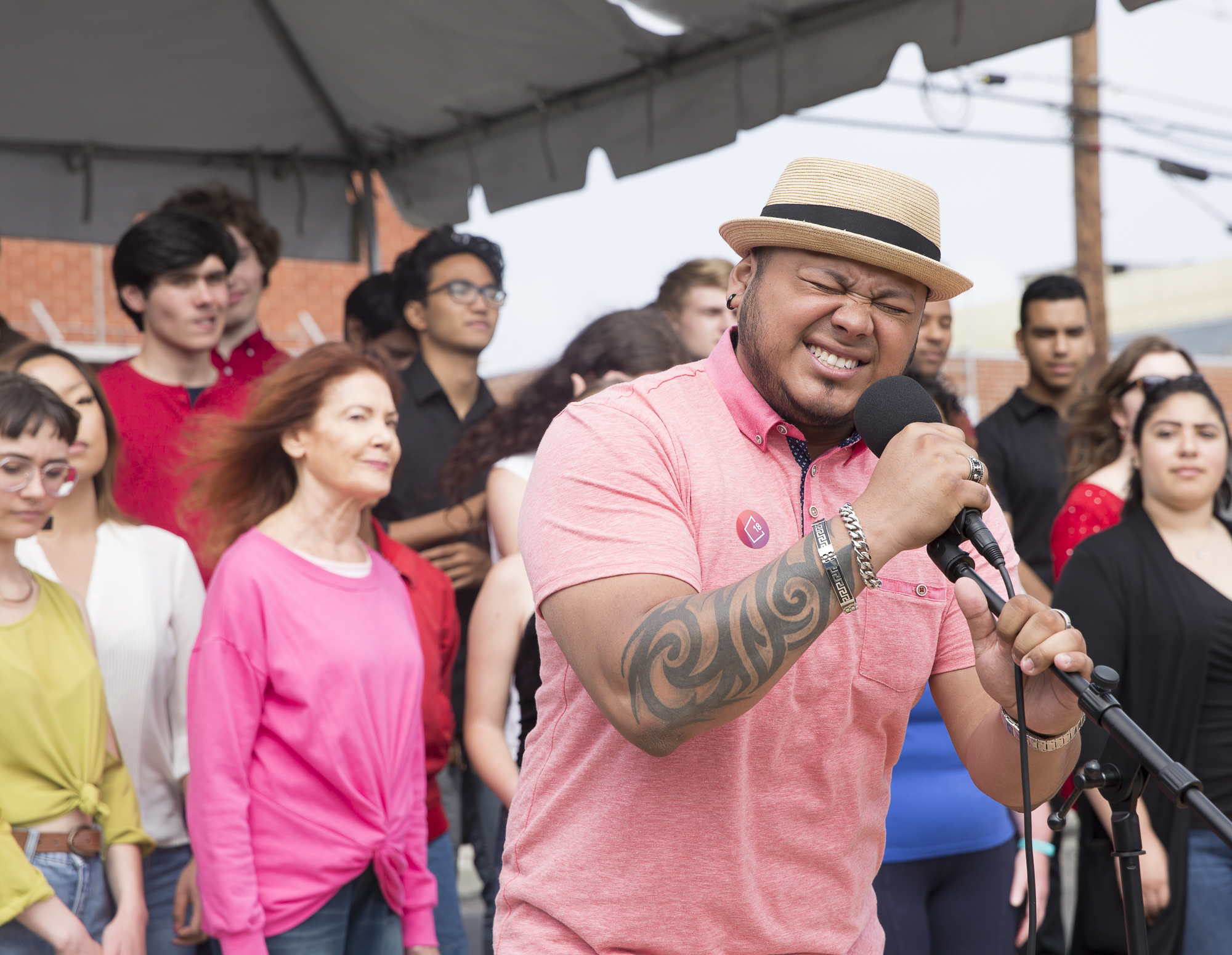 Santa Monica College (SMC) sophomore and member of the SMC Jazz Vocal Ensemble Andy Hernandez performs a classic song by Harry Connick Jr. track during the Pico Block Party festivities that took place at the 18th street Arts Center in Santa Monica, California on Saturday May 19, 2018. The Pico Block Party is a celebration of artists and cultures of the Pico neighborhood in Santa Monica with the festivities primarily focusing on youth artists and empowering youth voices. (Matthew Martin/Corsair Photo)