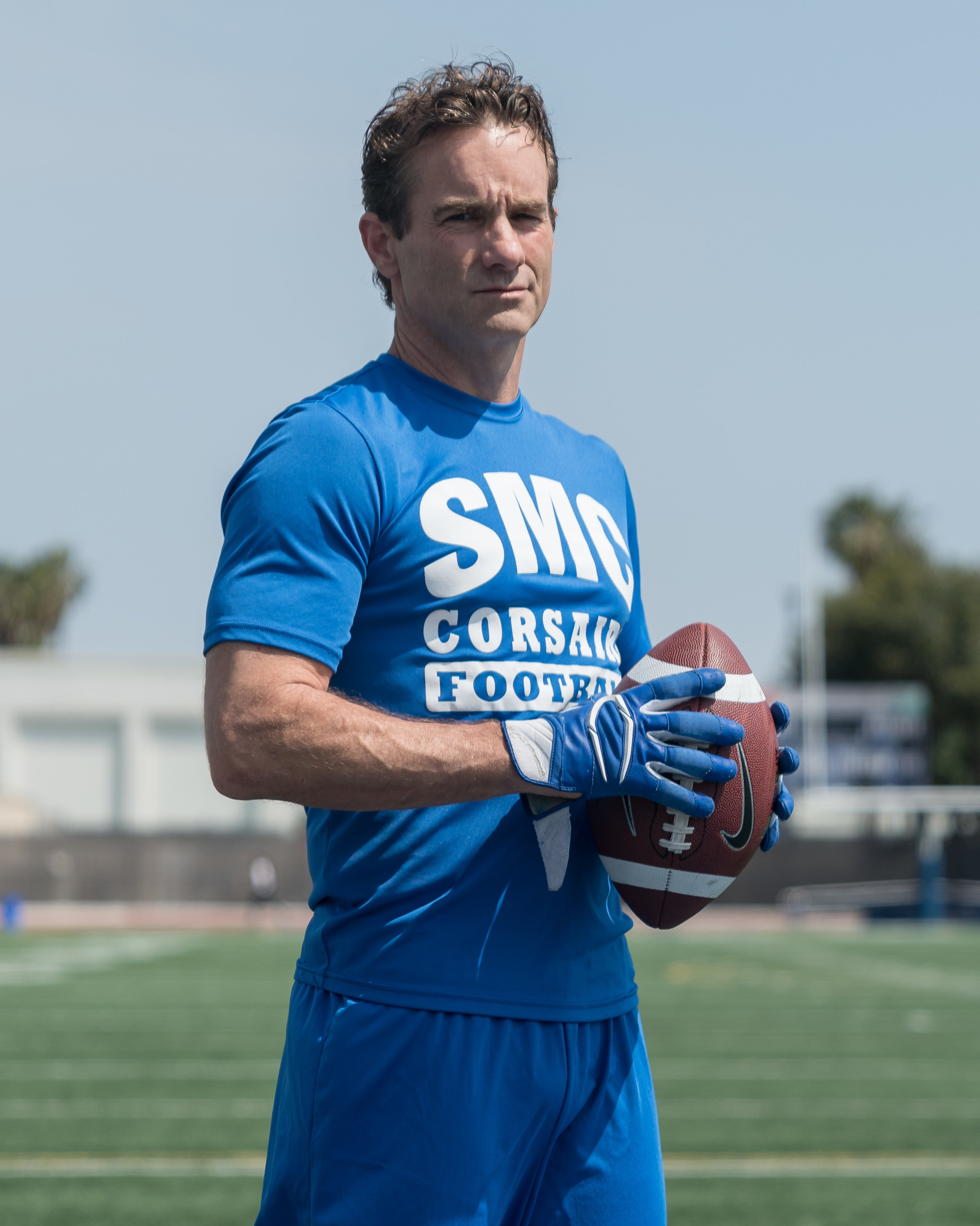 Santa Monica College student, RC Everbeck, a 48-year-old player on SMC's football team, poses for a portrait at the Corsair Stadium at Santa Monica College in Santa Monica, California on May 22, 2018. Everbeck played safety in his first season. (Helena Sung/Corsair Photo).