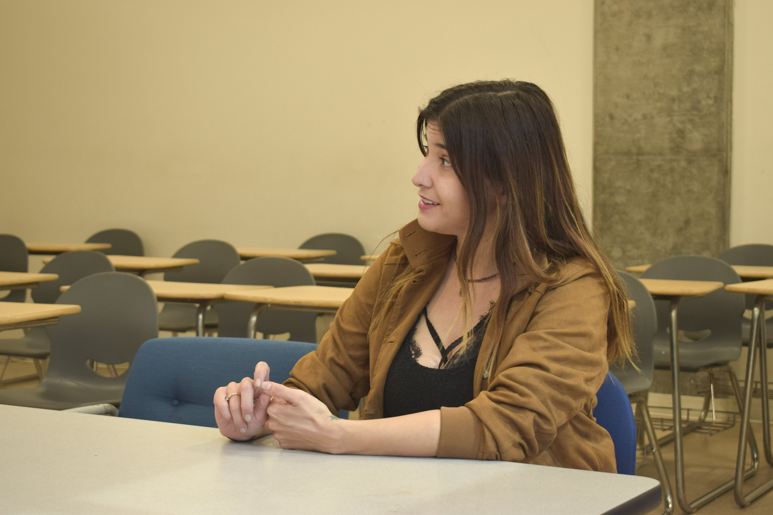 Brie Elise, president of the Women in Media Club, talking to the corsair about what she hopes to accomplish with the club and to someday have the club grow and include others besides SMC students. Tuesday May 8, 2018. Santa Monica, California.  (Diana Parra Garcia/Corsair Photo)