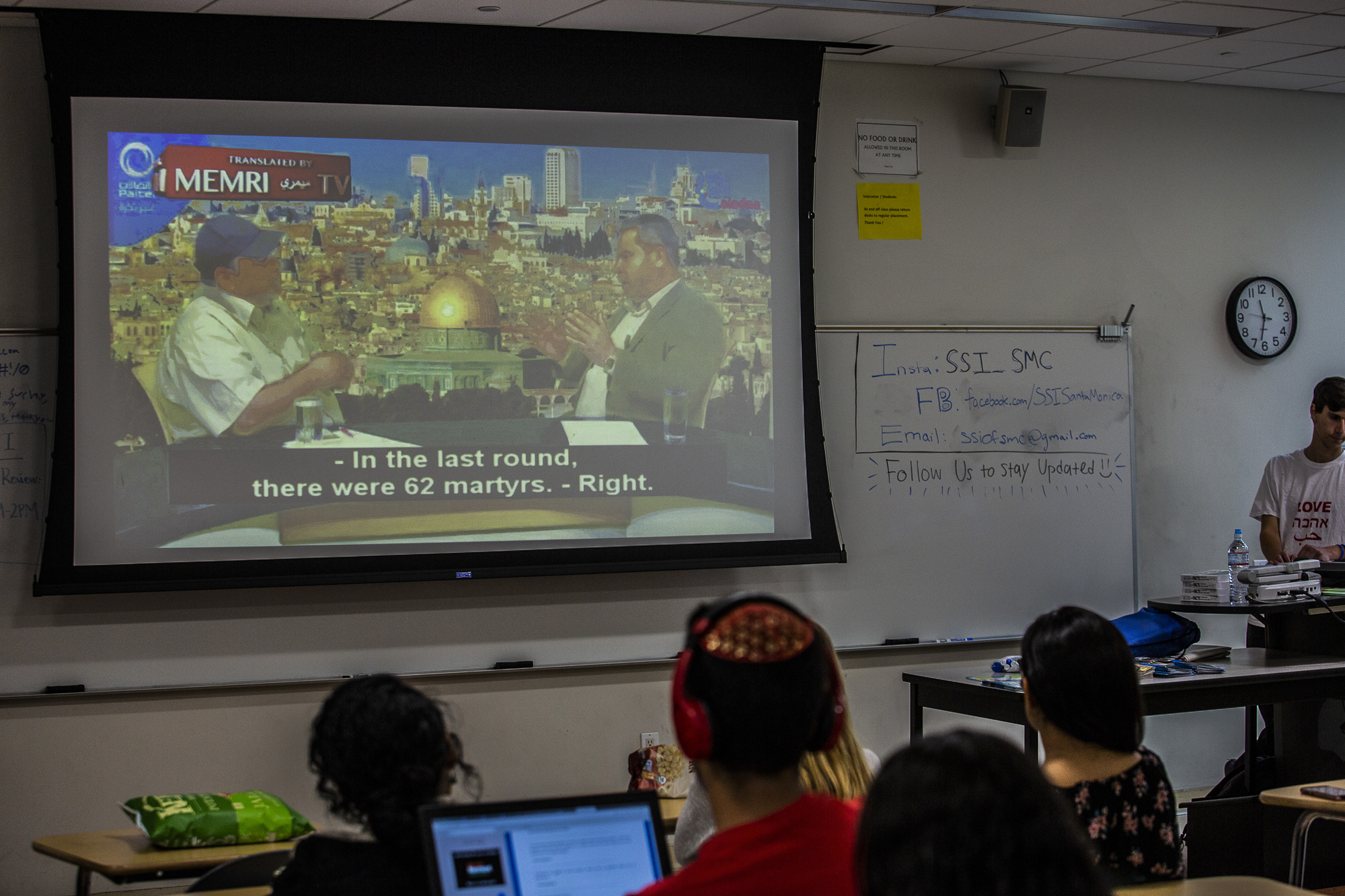 A group of predominantly Israel-American students gather at a meeting of 'Students Supporting Israel' to watch footage distributed by MEMRI, the MIddle Eastern Media Research Initiative, a non-profit which promotes itself as neutral but has been charged by critics with disseminating incomplete and selective translations while promoting the views of Islamic extremists in order to depict the Arab world in a negative light. Thursday May 24 2018 in Santa Monica College, Santa Monica CA photo by Ruth Iorio