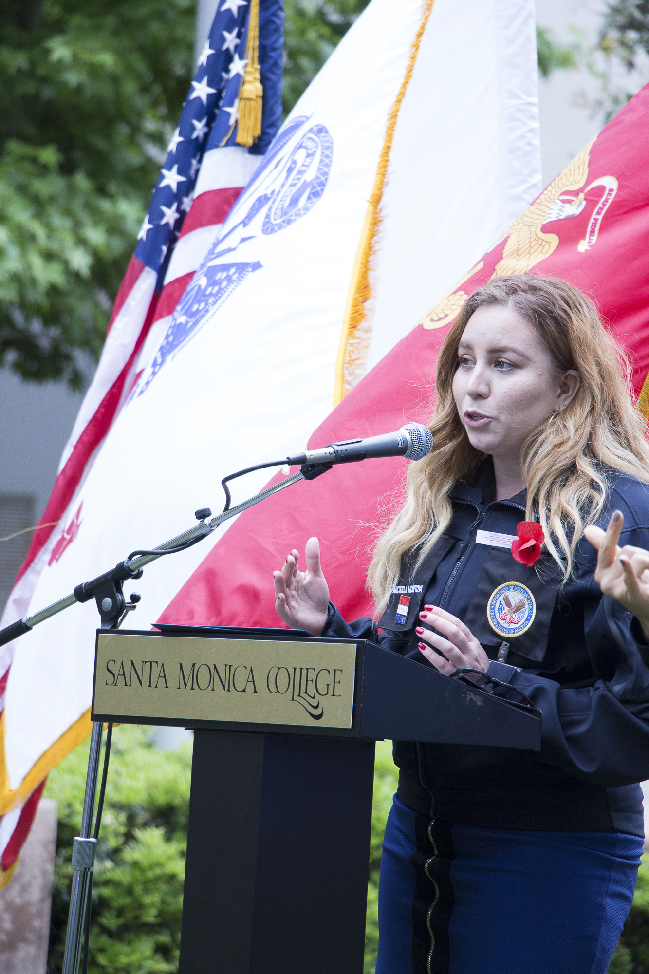 Mickiela Montoya, a veteran spoke about her time in the National Guard in Iraq during the Memorial Day Commemoration in Santa Monica College on Thursday May 24, 2018 in Santa Monica, California. (Wilson Gomez/Corsair Photo)
