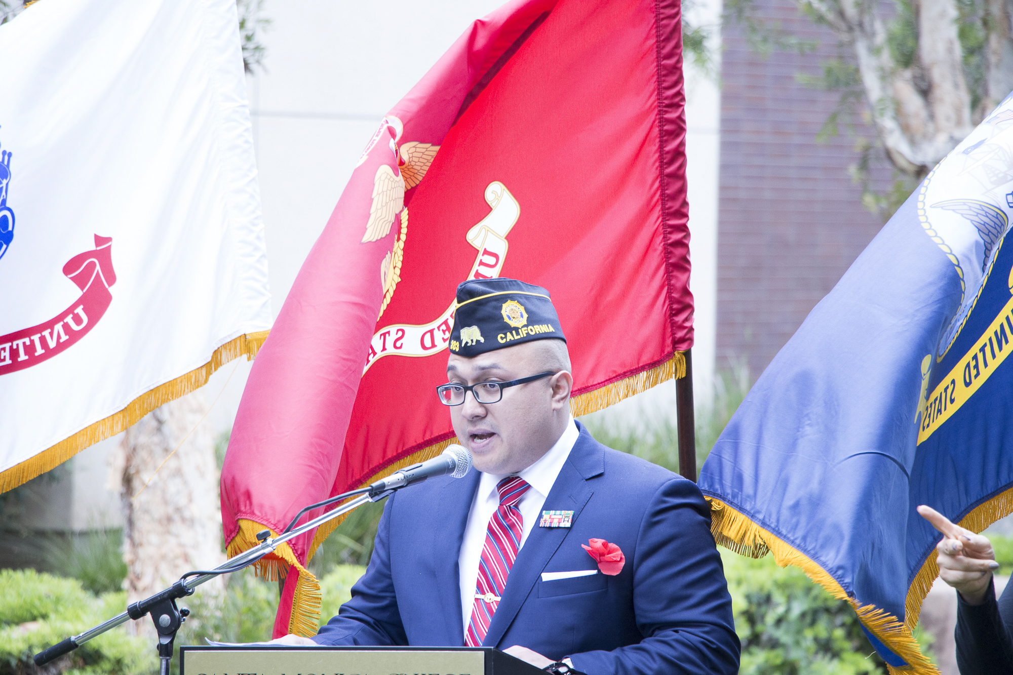 Glen Pena,, a Marine veteran speaks about those who have lost thier lives in the line of duty at Santa Monica College's Memorial Day Commemoration on Thursday, May 24, 2018 in Santa Monica, California. (Wilson Gomez/Corsair Photo)