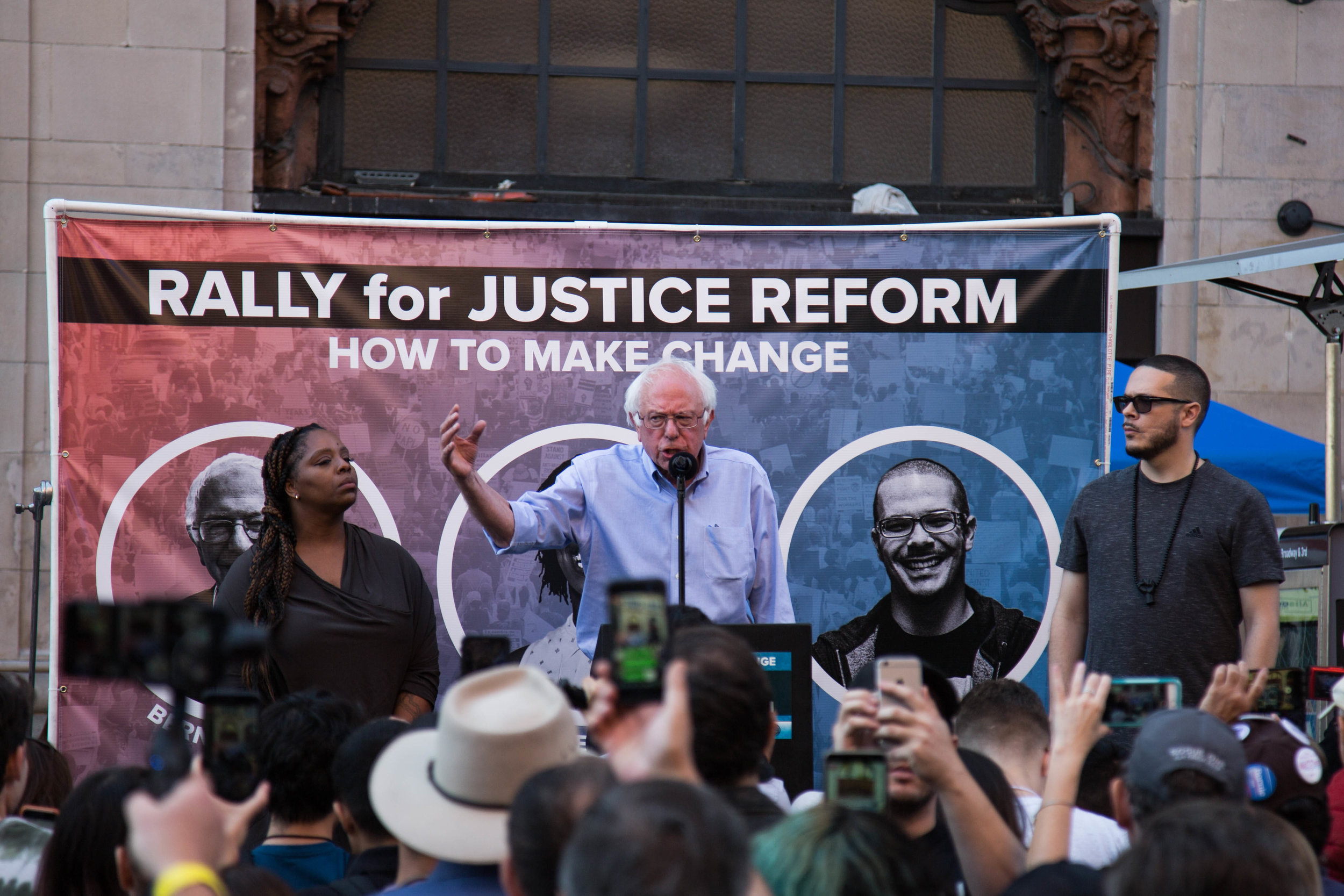 Senator Bernie Sanders gives a speech at outside of Million Dollar Theater during Rally for Justice Reform on June 2nd, 2018 at Downtown Los Angeles, California. (Yuki Iwamura/Corsair Contributor)