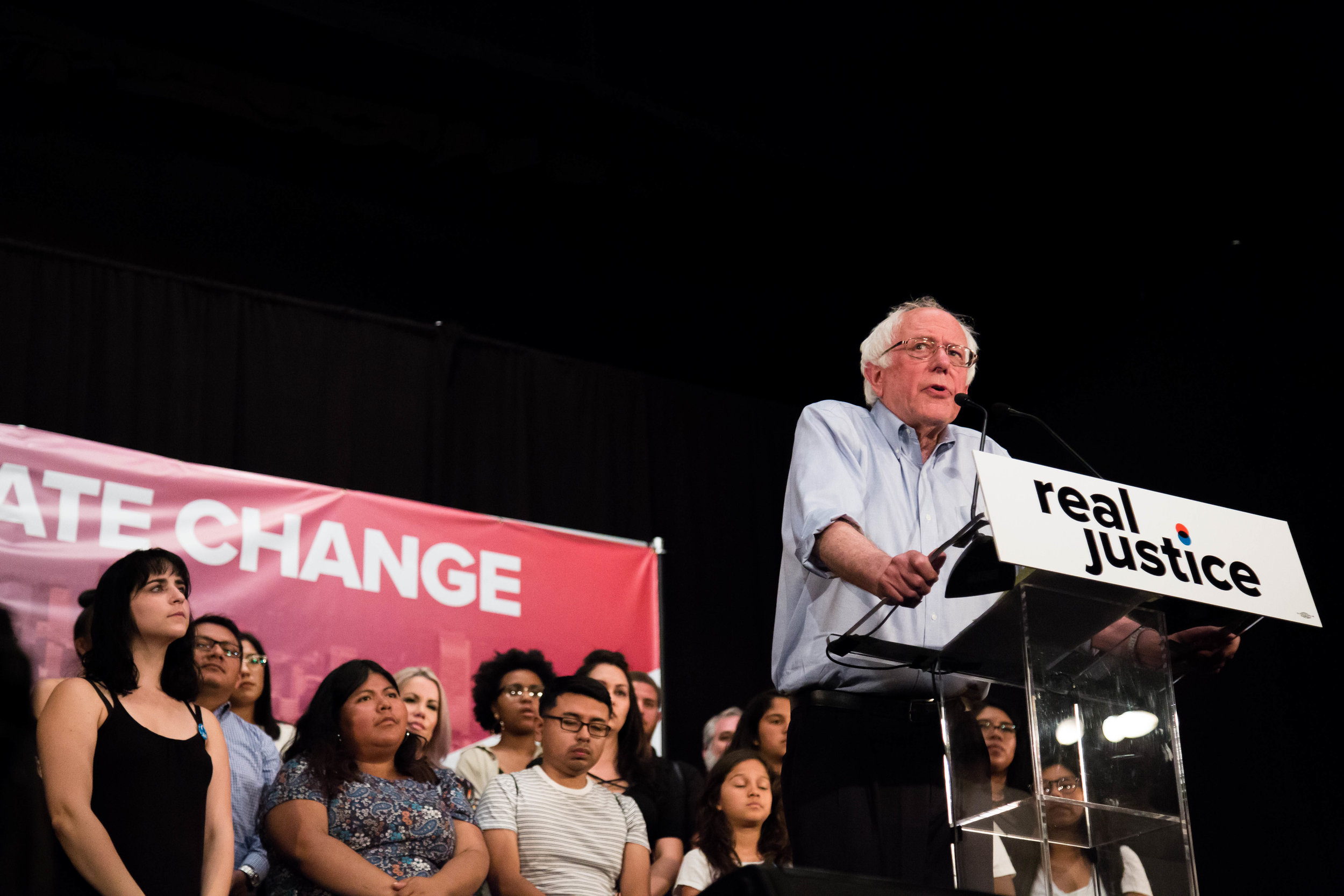 "Senator Bernie Sanders made a speech at the Justice Reform ""How to make change"" rally on Saturday June 2nd, 2018 at Million Dollar Theater in Downtown Los Angeles, California. (Yuki Iwamura/Corsair Contributor)"