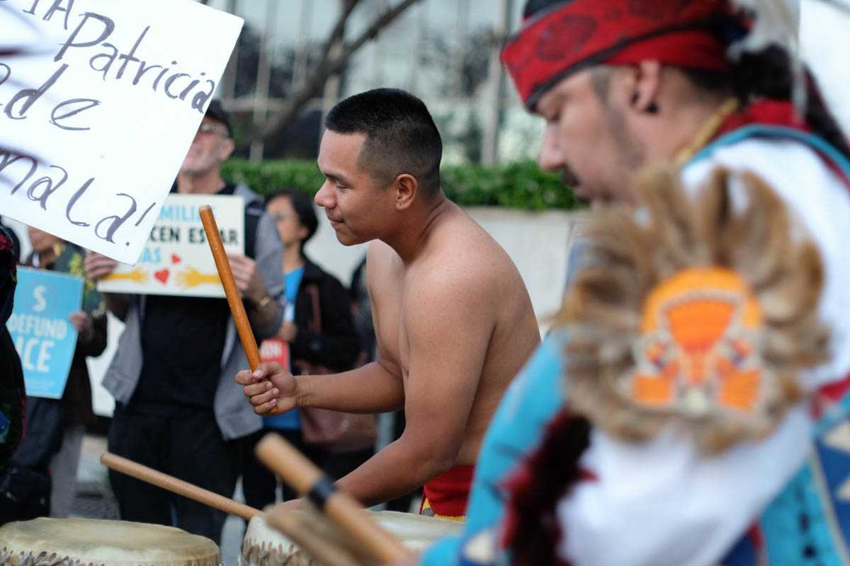 Aztec tribal drummers played during a ceremonial dance at the Justice for Claudia vigil in Los Angeles, California on Saturday June 1, 2018.(Jayrol San Jose/Corsair Contributor)
