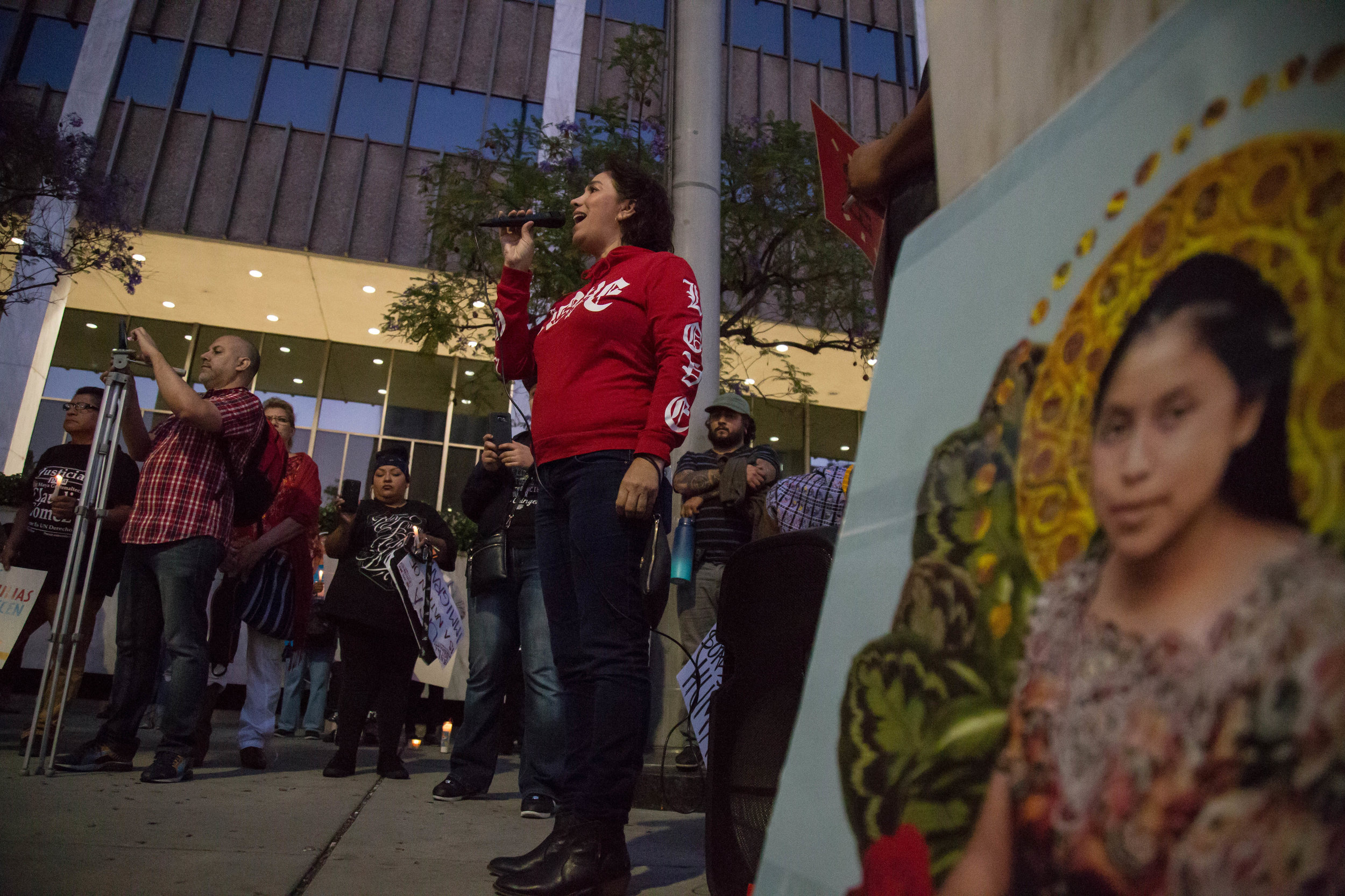"""One of the participants of """"Justice for Claudia and All kidnapped Indigenous children!"""" gives a speech in front of United States Citizenship and Immigration building in Downtown Los Angeles, California on June 1st, 2018. (Yuki Iwamura/Corsair Contributor)"""