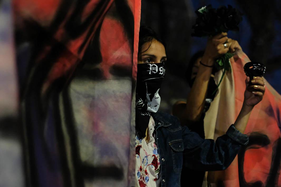 Members of American Indian Movement join the vigil for Claudia Gomez in Los Angeles, California on Friday June 1, 2018. (Jayrol San Jose/Corsair Photo)