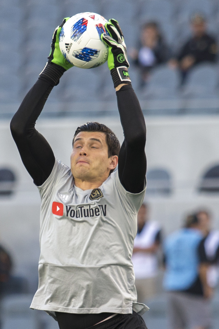 Los Angeles Football Club (LAFC) Goalie Charlie Lyon (right) warms up before his match against the Minnesota United Football Club on May 9, 2018 at Banc of California Stadium. LAFC won the match 2-0. (Zane Meyer-Thornton/Corsair Photo)