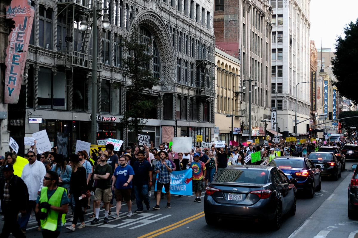 Marchers take over one one side of the street during the Famlies Belong Together march in Downtown Los Angeles, CALIF on June 14, 2018.(Photo by Jayrol San Jose)