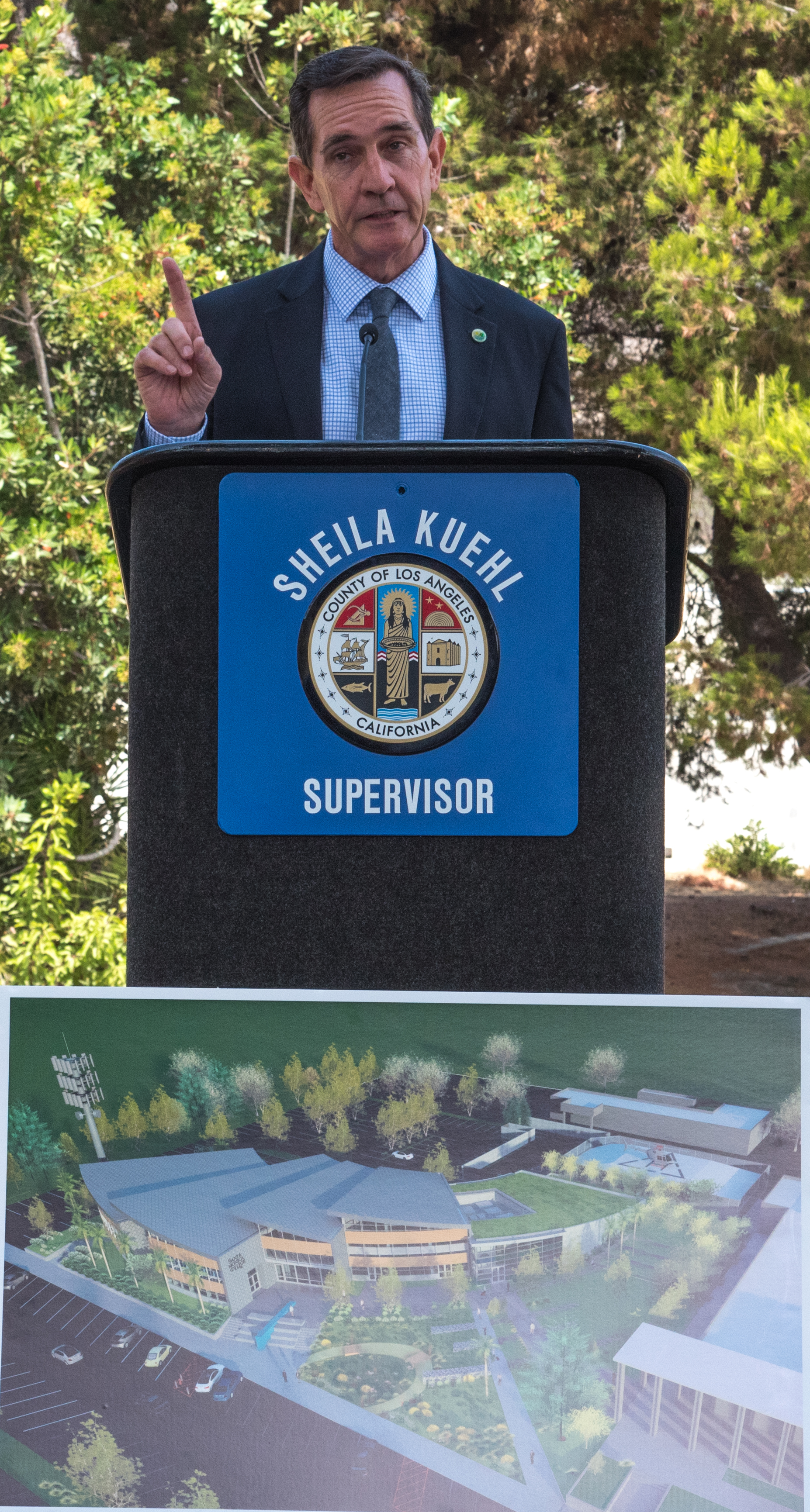 Mayor Rick Mullen, of the City of Malibu, addresses investors, Los Angeles County sheriff's deputies, City of Malibu officials, and Santa Monica College Board of Trustees members gathered at the official ground breaking ceremony of the Santa Monica College Malibu Campus & Los Angeles County Sheriff's Substation on September 21, 2018 in Malibu, California.