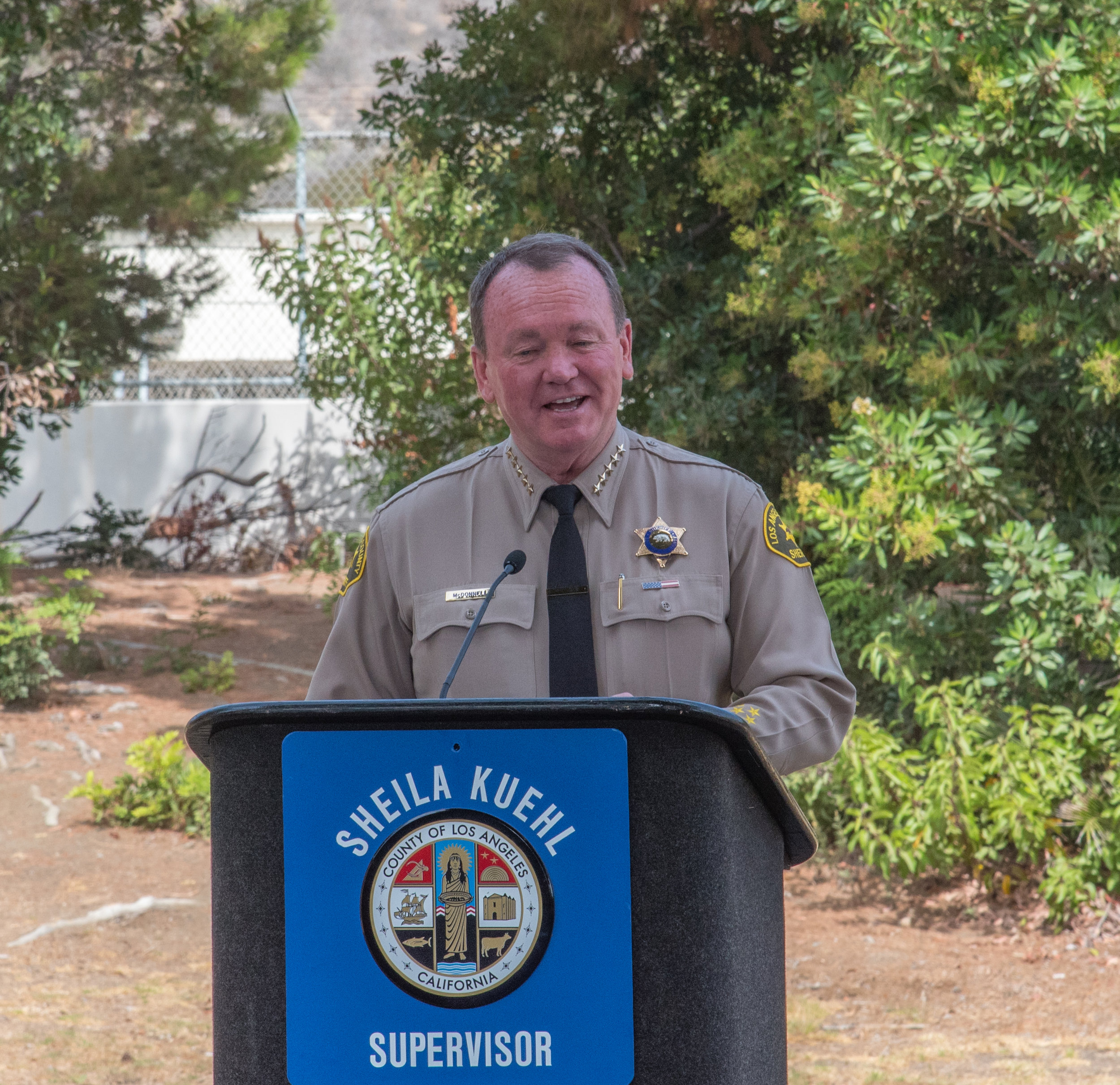 Sheriff Jim McDonald of the Los Angeles County Sheriff's Department speaks to investors, sheriff's deputies, City of Malibu officials, and Santa Monica College Board of Trustees members gathered at the official ground breaking ceremony of the Santa Monica College Malibu Campus & Los Angeles County Sheriff's Substation on September 21, 2018 in Malibu, California.