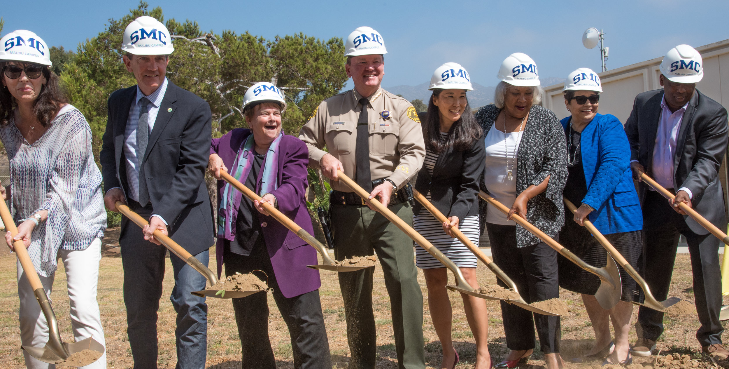 Santa Monica College President Kathryn Jeffery (third from right), Sheriff Jim McDonald (center), Mayor Rick Mullen (second from left), and others begin the official groundbreaking of the Santa Monica College Malibu Campus & Los Angeles County Sheriff's Substation on September 21, 2018 in Malibu, California. The collaborative project is set to be completed by 2022.