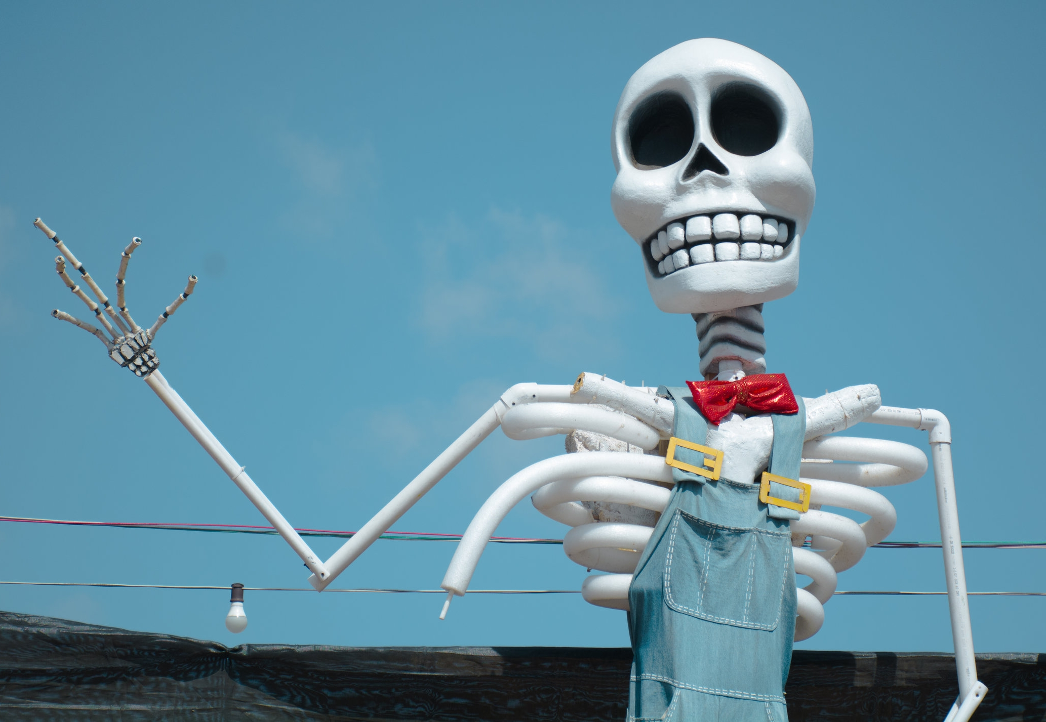 Mr.Bones the face for Mr.Bones Pumpkin Patch has been brought to life and is one of the unique art pieces that take days to construct hovering over the skies of their annual patch in Culver City, California on October 8th, 2019 located on the corner of Jefferson Blvd. and College Road. (Adriel Navarro/Corsair Staff)