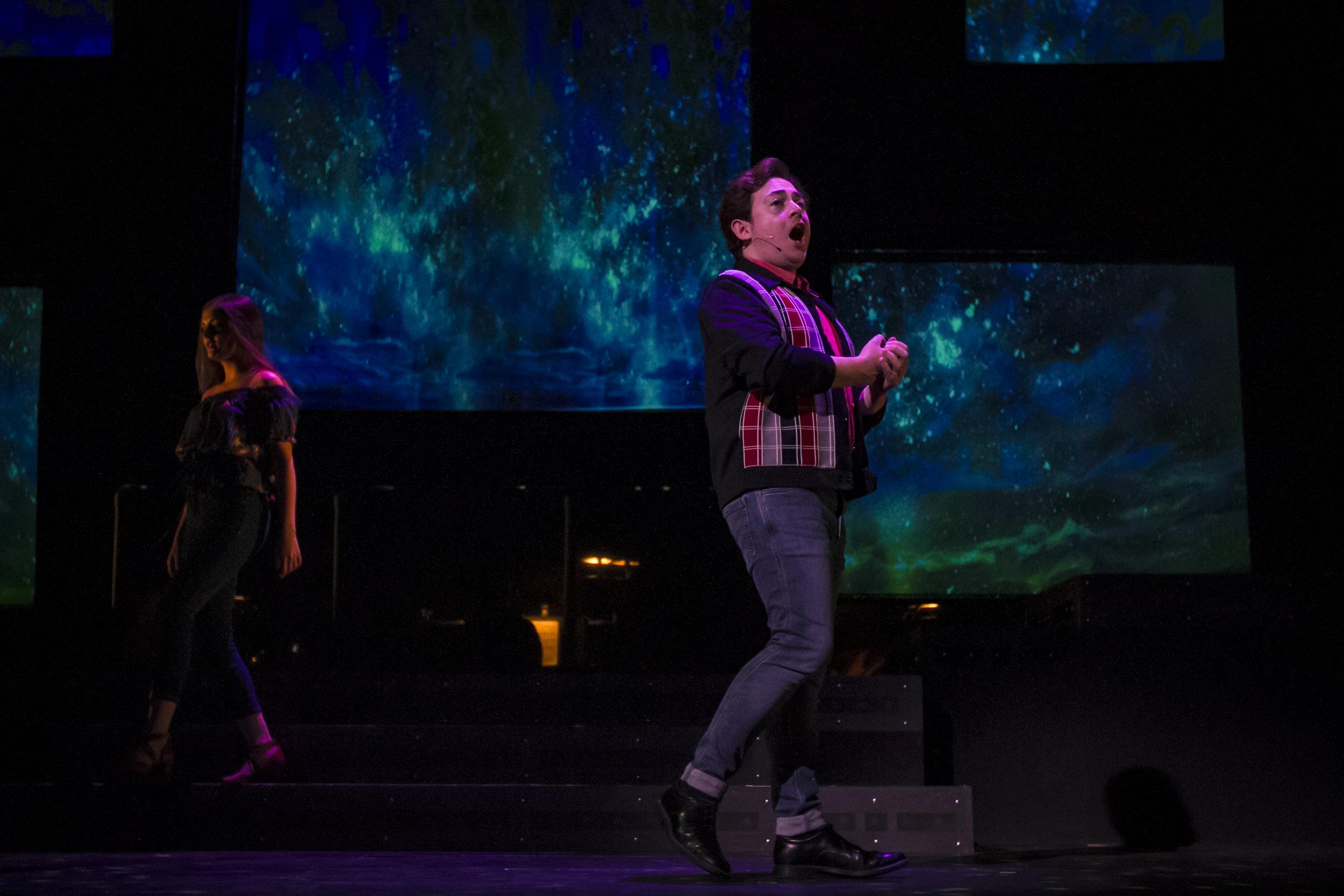 Adam McCrory singing on stage. By Yasser Marte. Smokey Joe's Cafe Musical. Santa Monica College (SMC) Theater Arts Main Stage. Oct. 2, 2018 ( Yasser Marte/ Corsair Staff)