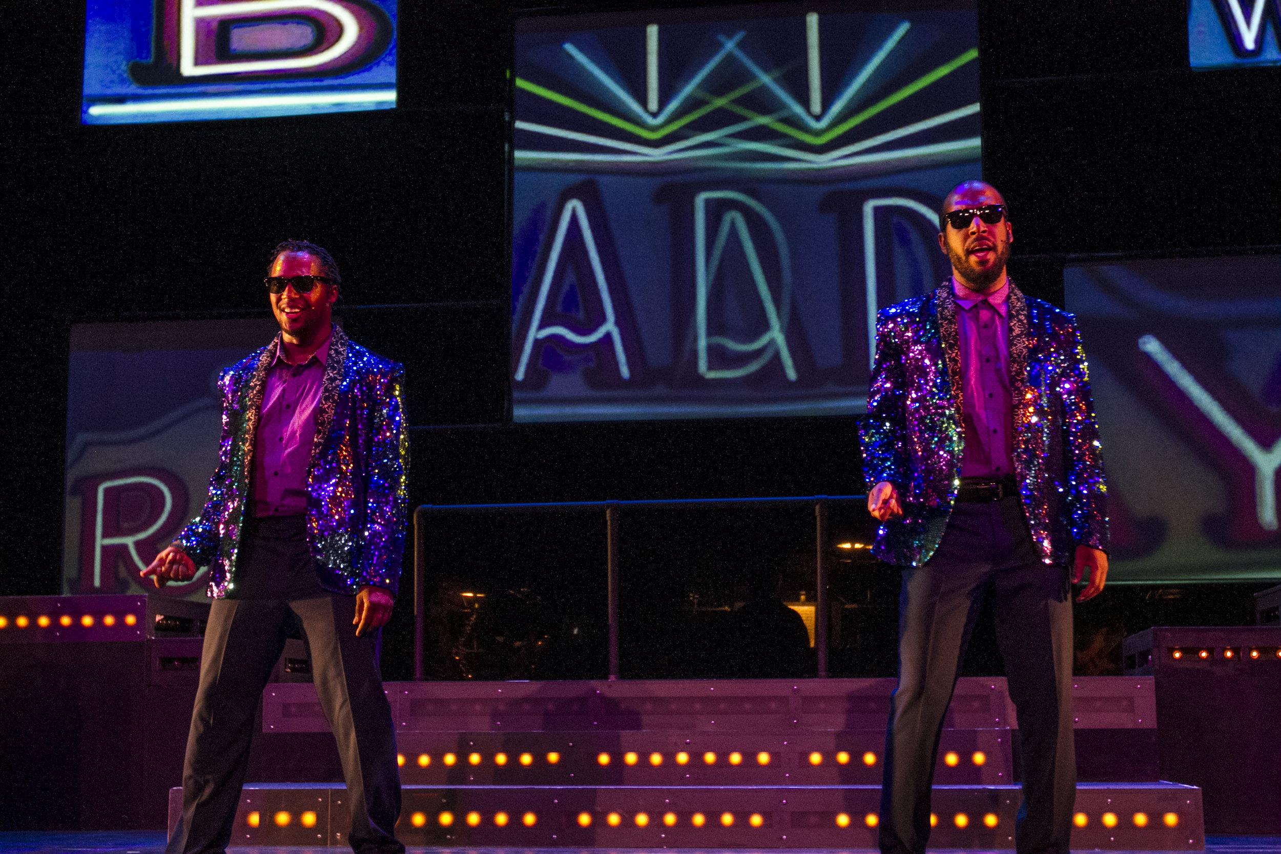 Deonte Allen (left) and Nehemiah Harvey (right) singing Broadway. By Yasser Marte. Smokey Joe's Cafe Musical. Santa Monica College (SMC) Theater Arts Main Stage. Oct. 2, 2018 ( Yasser Marte/ Corsair Staff)