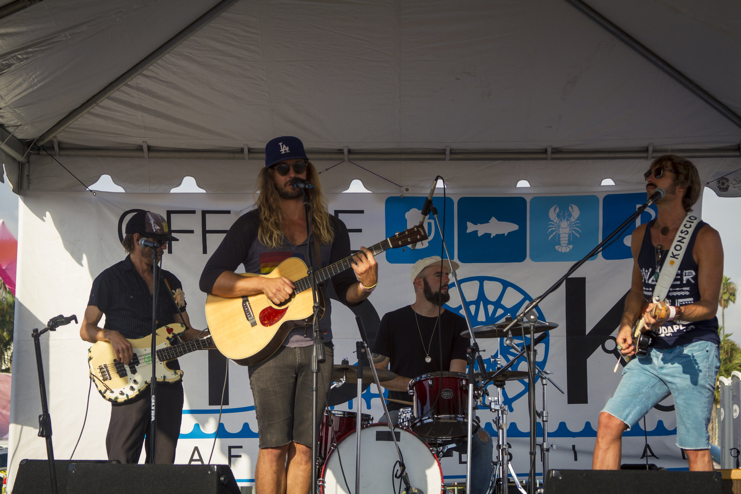 Local Venice band, Brightside, perform on stage. At Off the Hook Seafood Festival. Oct. 6, 2018. By Yasser Marte.
