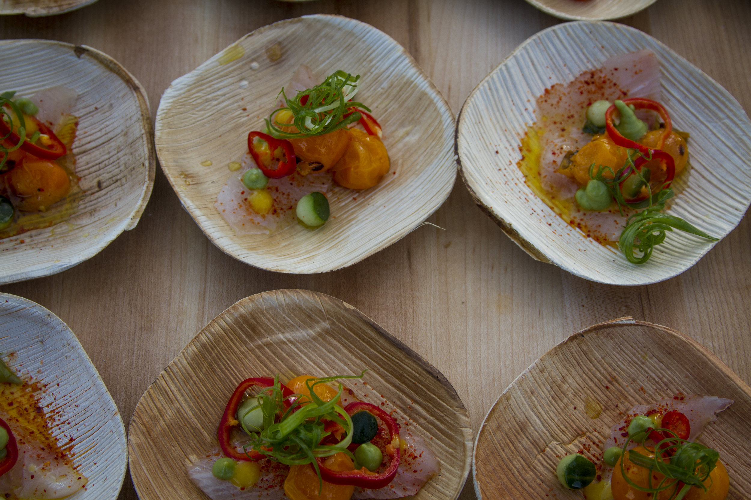 A plate of baja kanpachi from the Fairmont MIramar Hotel. At Off the Hook Seafood Festival. Oct. 6, 2018. By Yasser Marte.