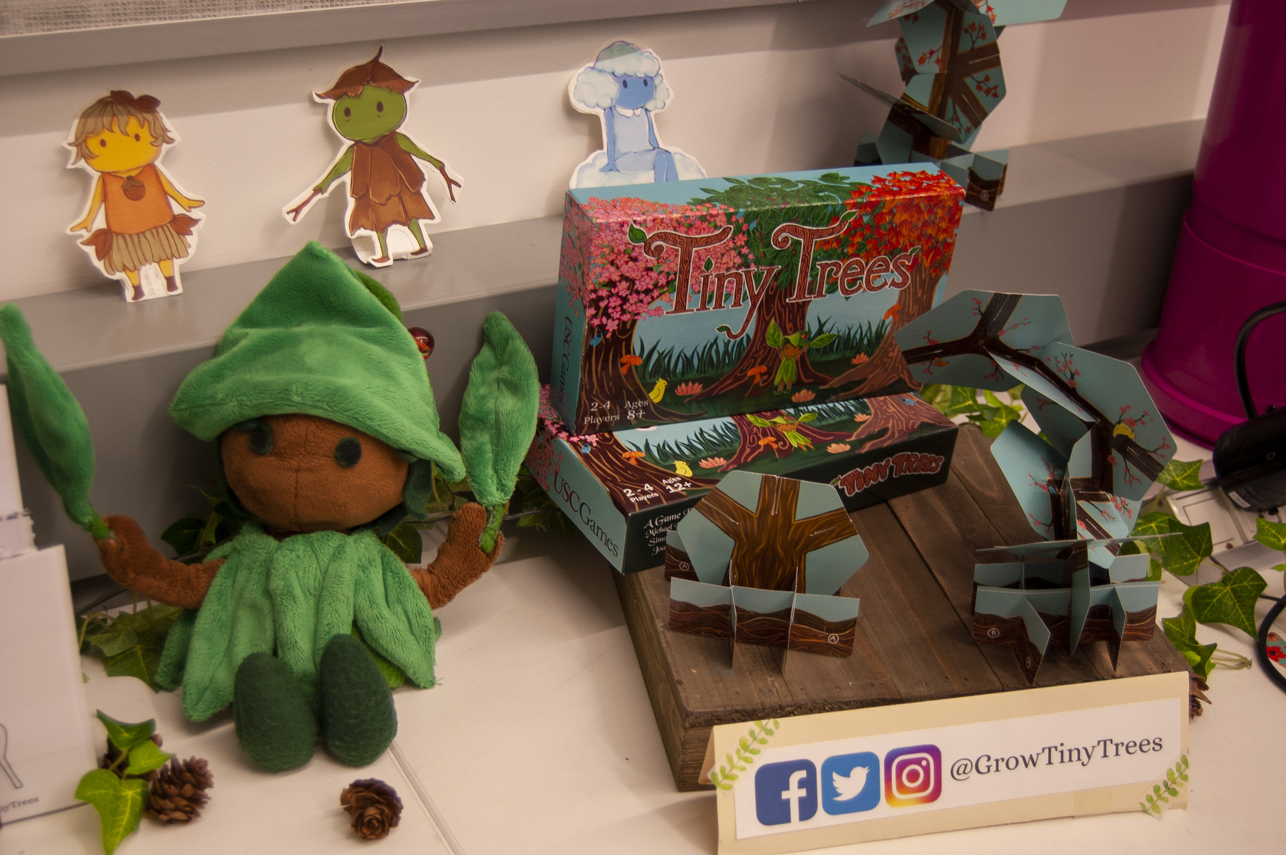 Game pieces for the board game Tiny Trees, IndieCade, 2018