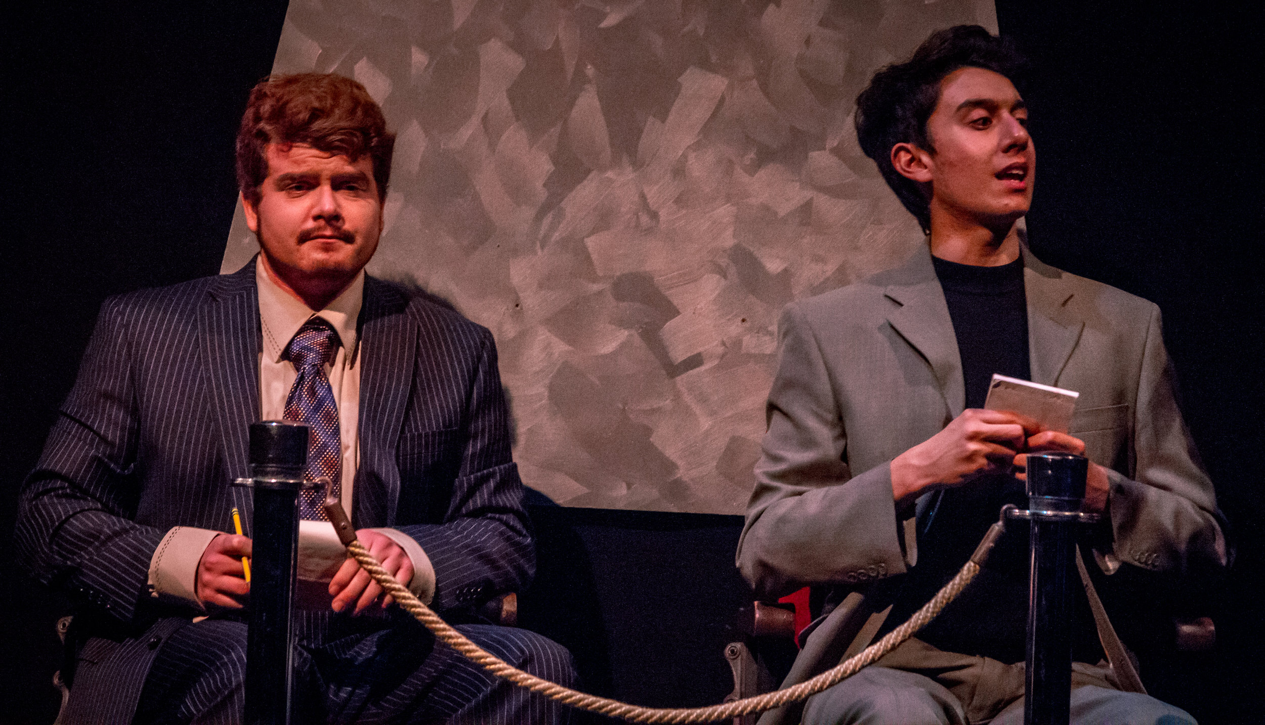 Simon Martin (left) and Andreas Sancez (right) play two critics who unwittingly get caught in the plays murder mystery. Oct. 18, 2018 Santa Monica College (SMC) studio stage. (Yasser Marte/Corsair Staff).
